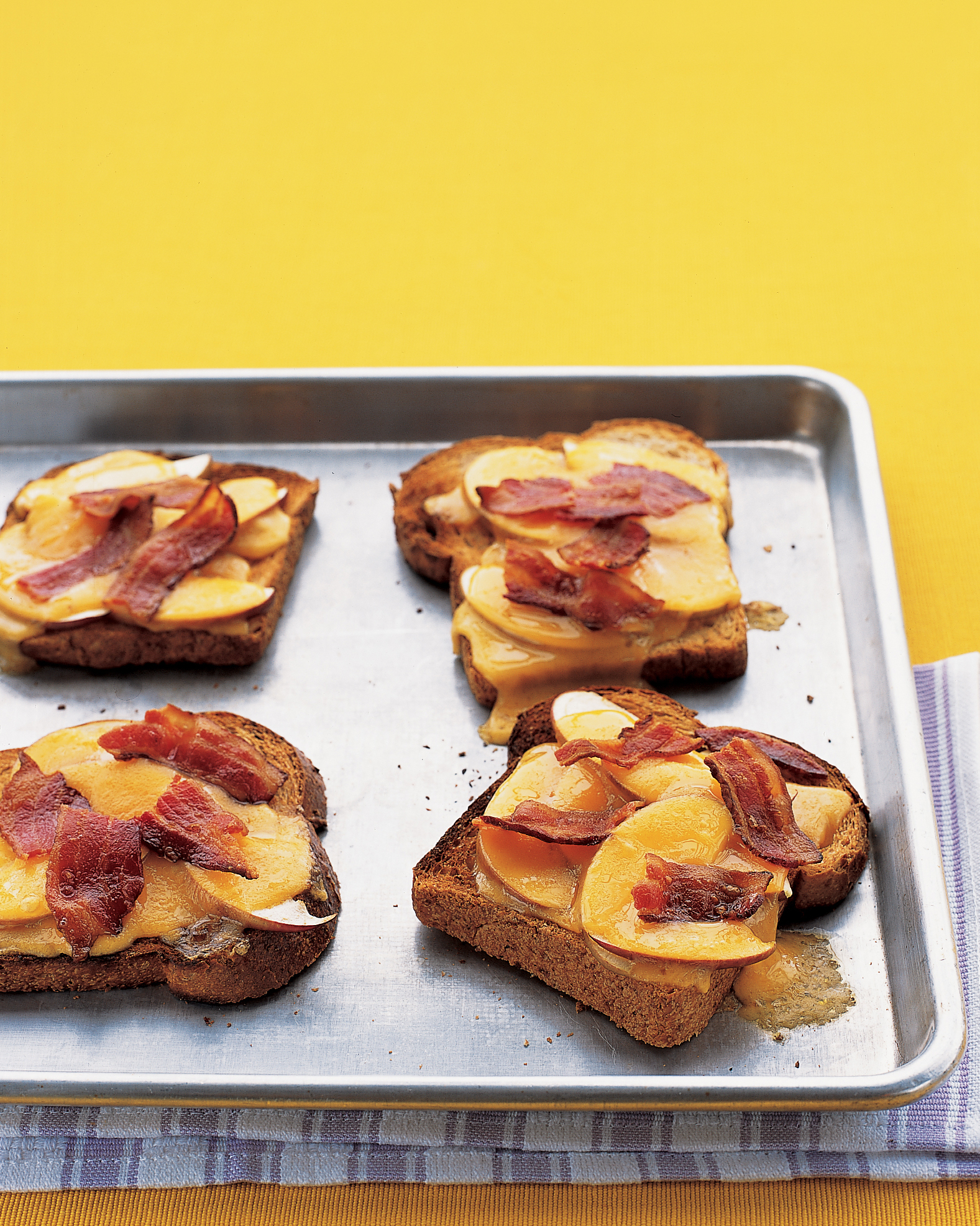 Open-Faced Grilled Cheese with Apple and Bacon