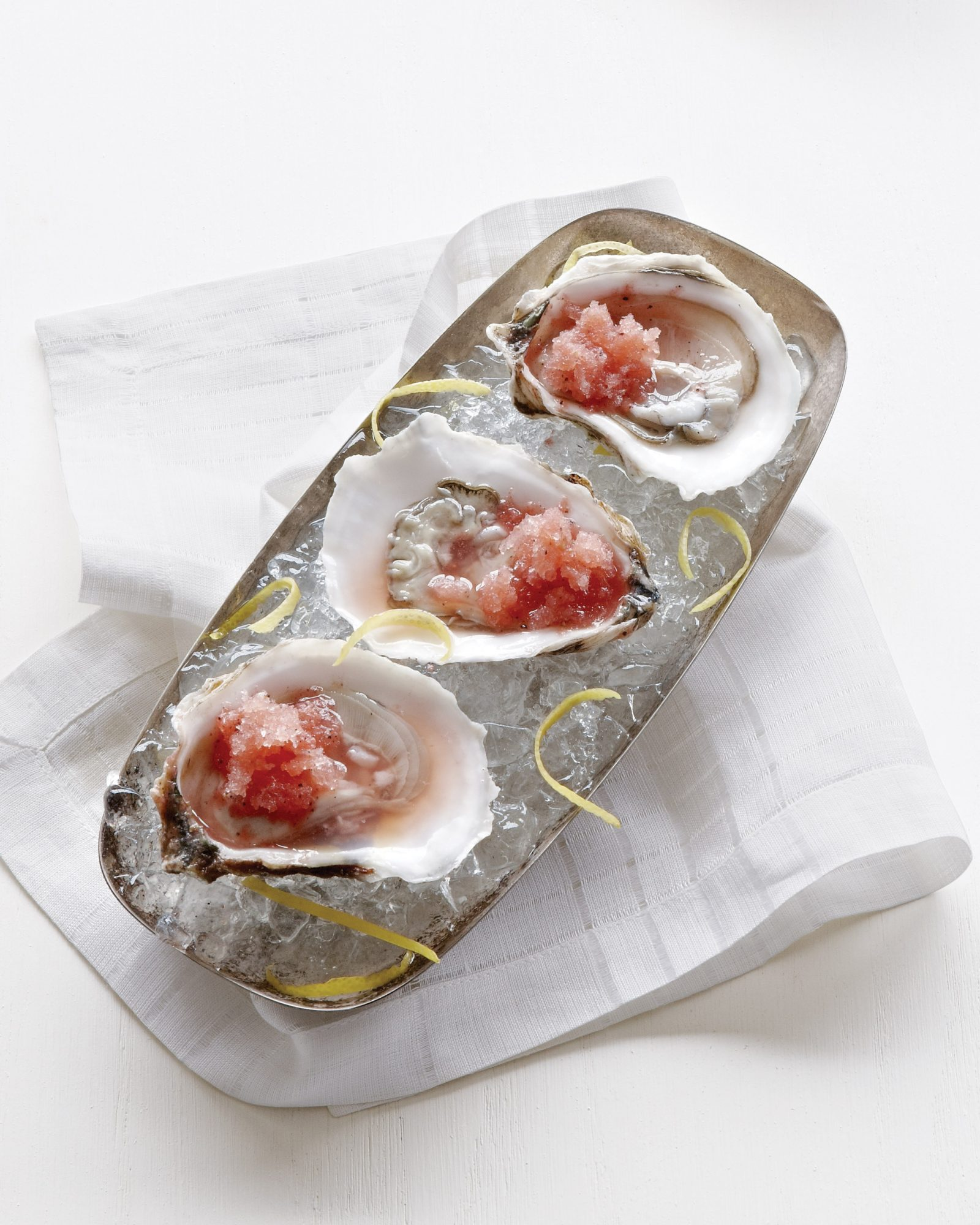 Oysters on the Half Shell with Watermelon Granita