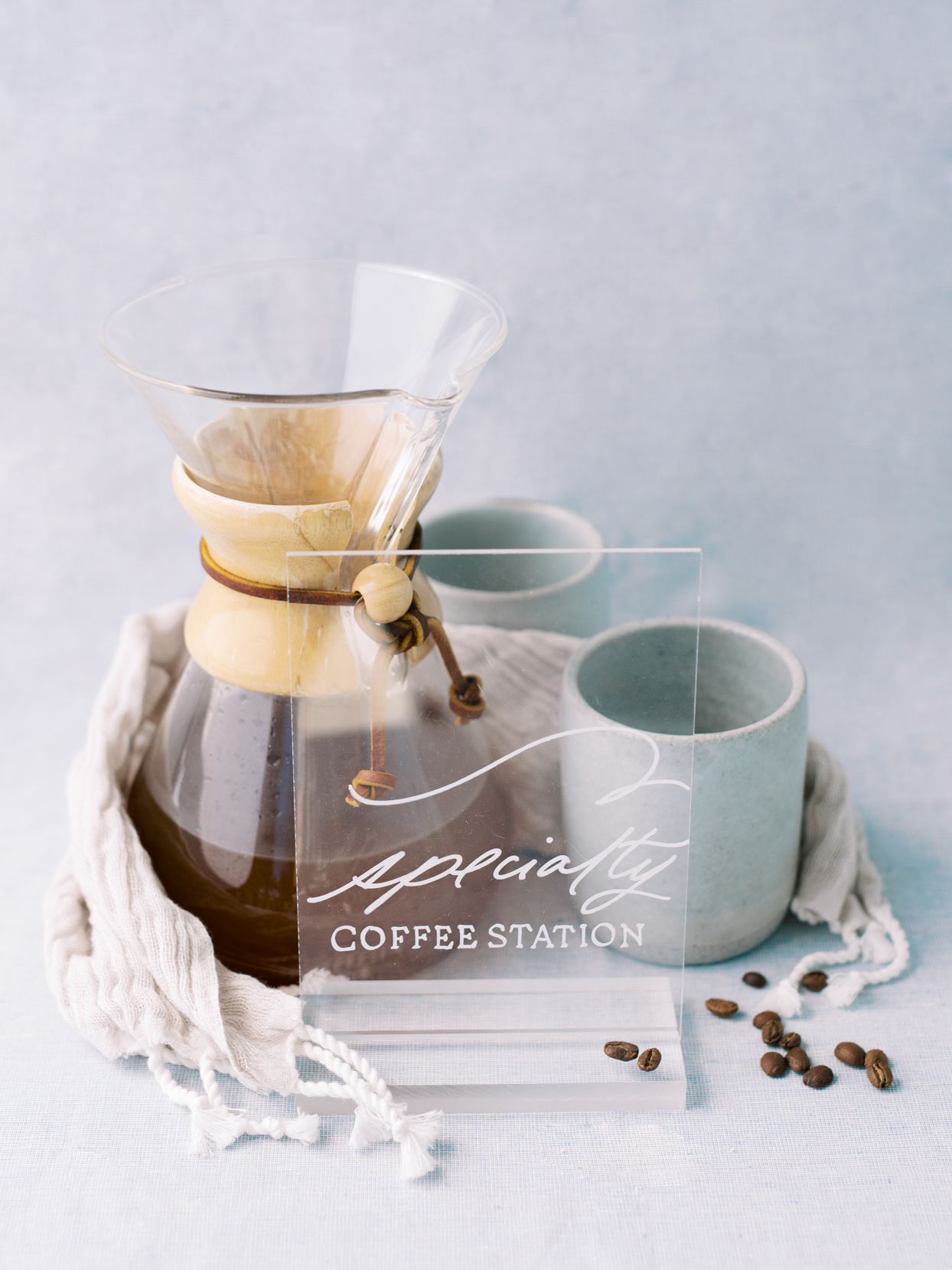 pour over coffee station with cups