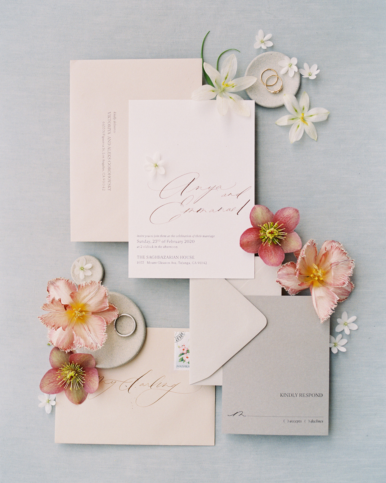 simple white, cream, and pink wedding invitations