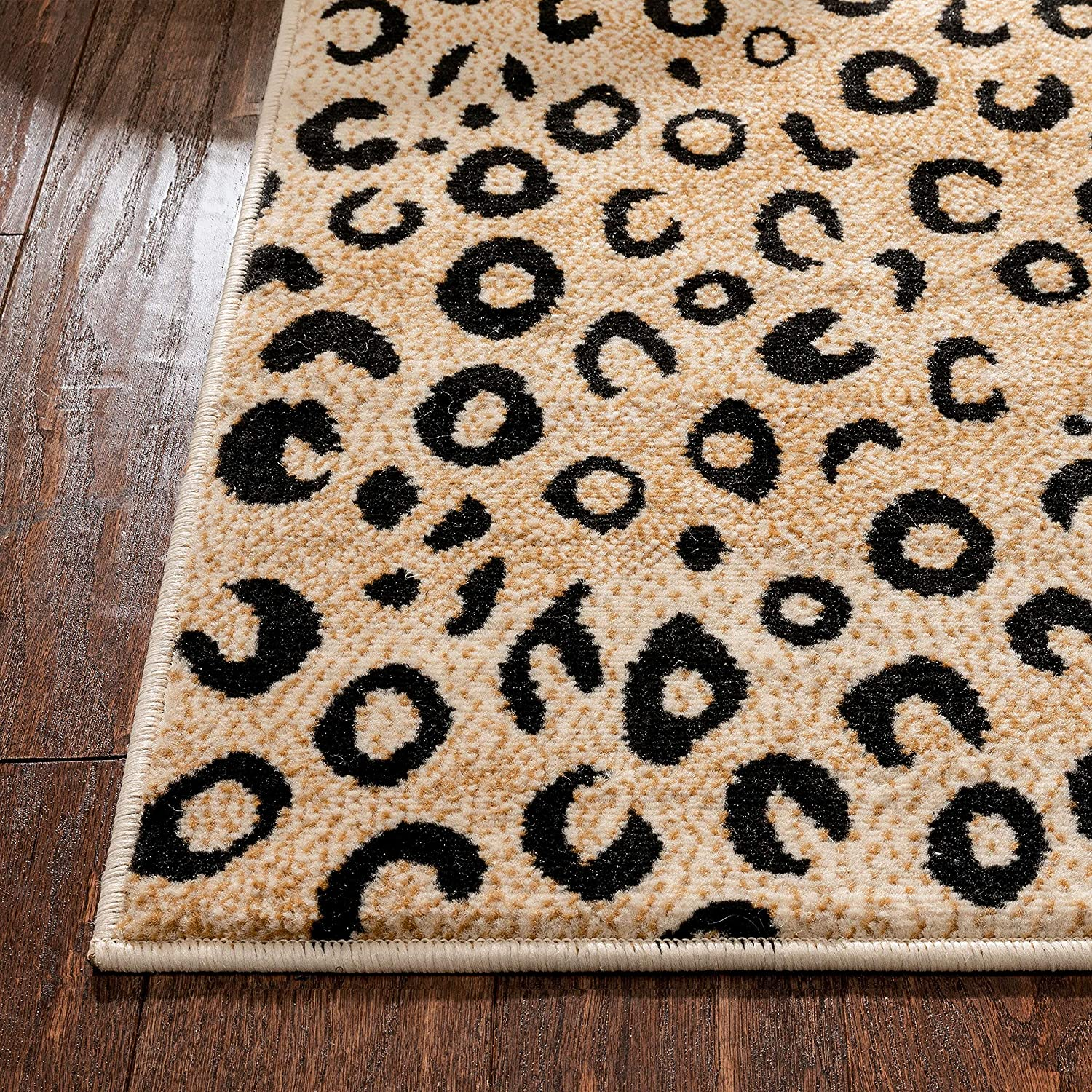 well woven dulcet leopard black ivory animal print area rug