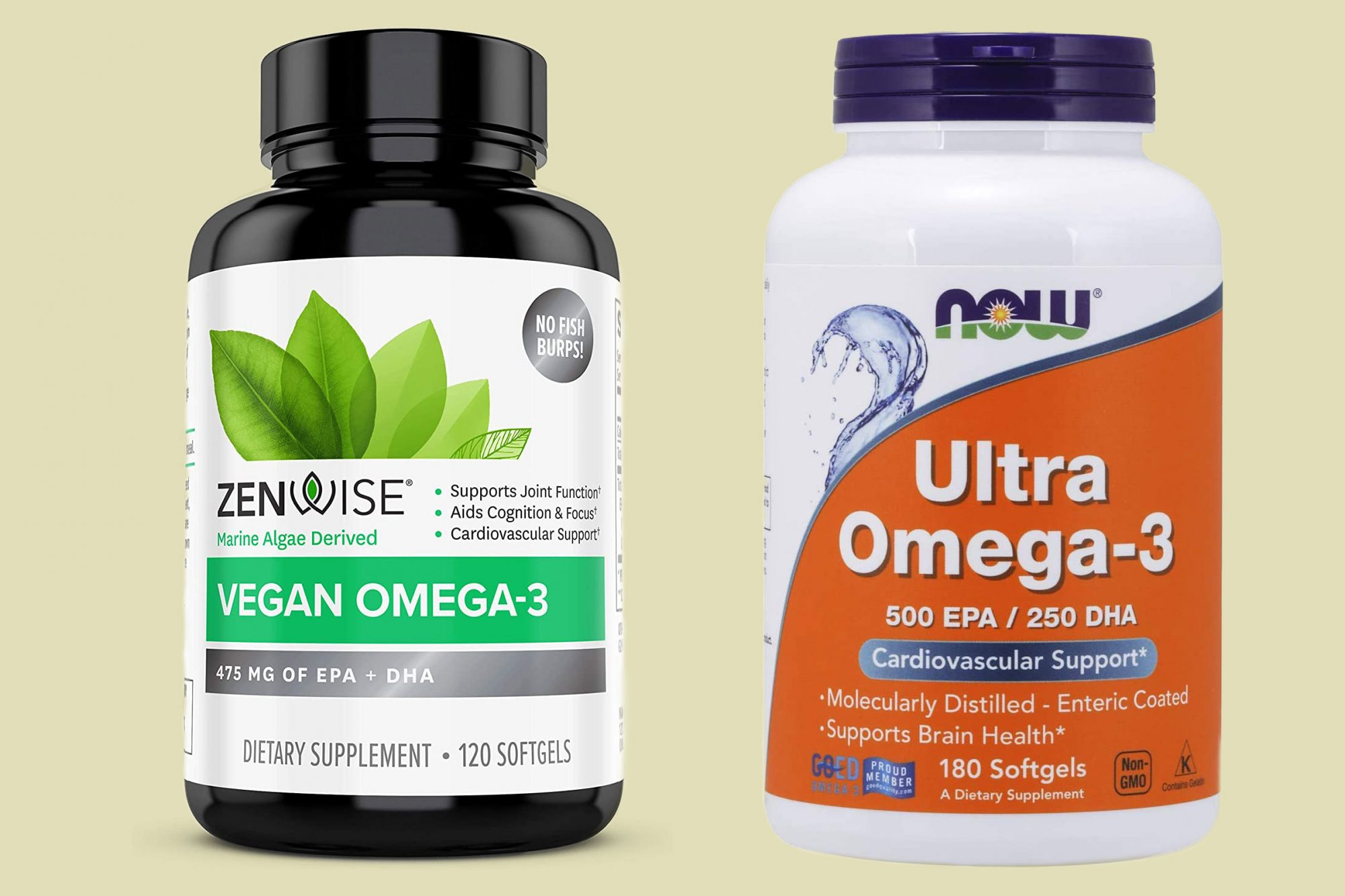 NOW Foods Ultra Omega-3 and Zenwise Vegan Omega-3 Supplement