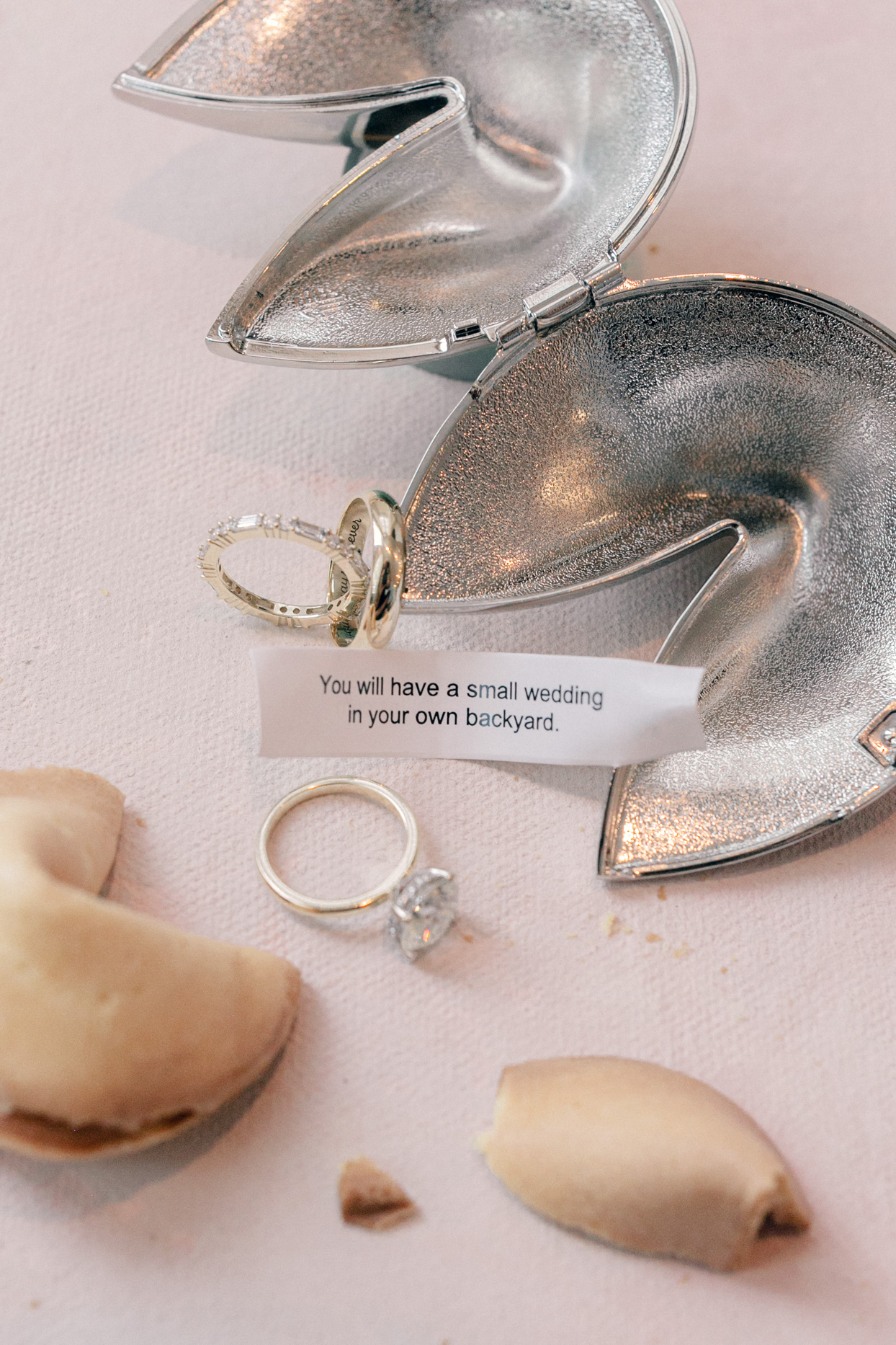 wedding fortune ribbon and cookie and rings