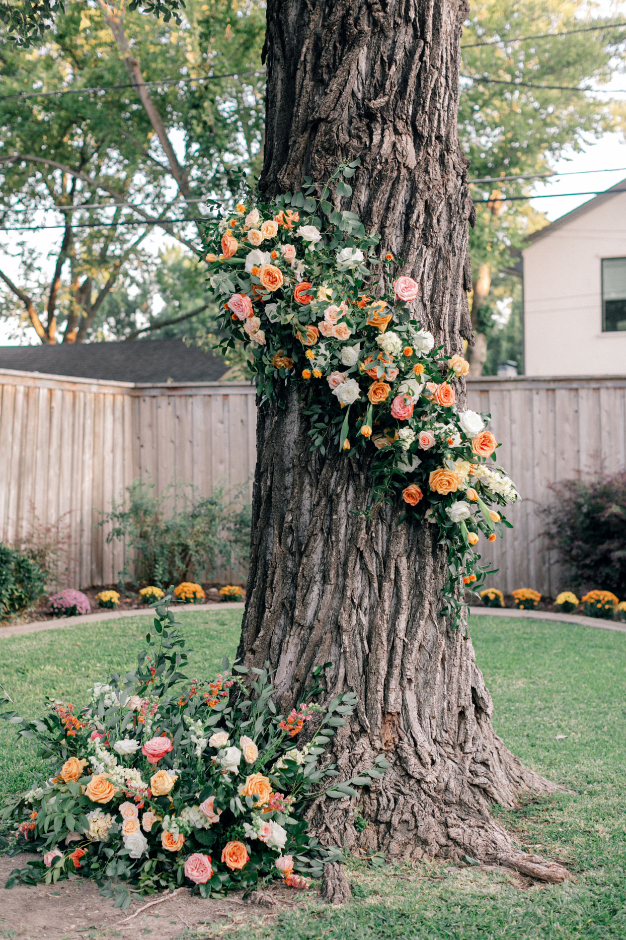 oak tree in backyard with pink, orange, and yellow floral decorations