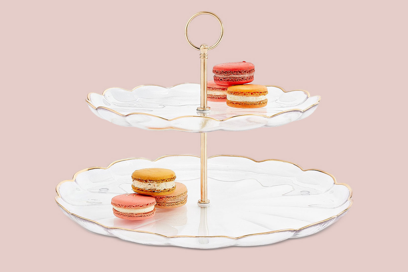 Martha Stewart Collection Two-Tiered Server with Gold Edge