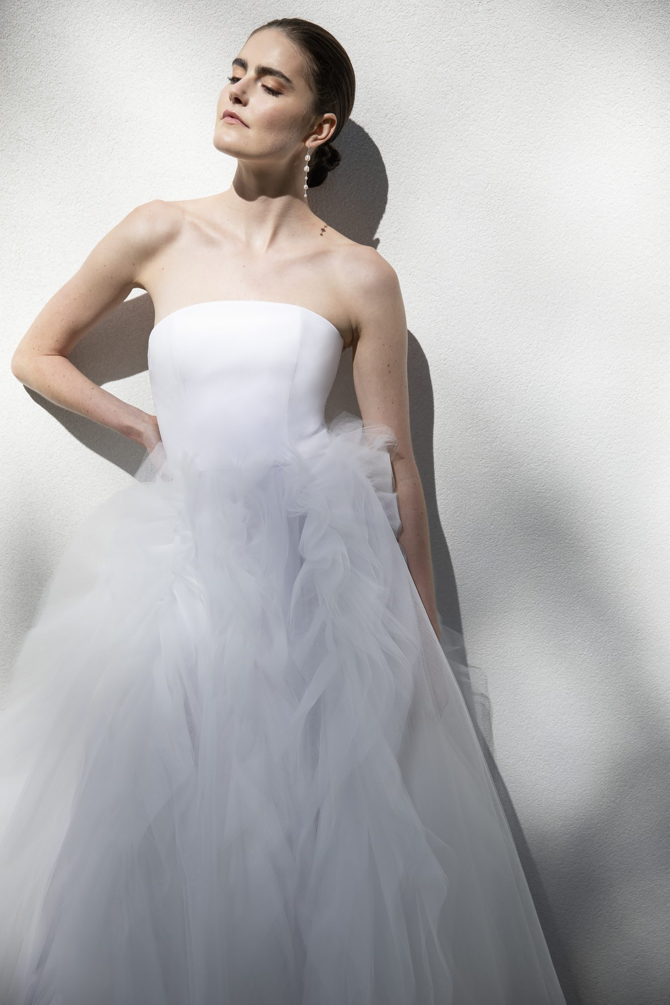 christian siriano wedding dress collection strapless dress with ruffled skirt