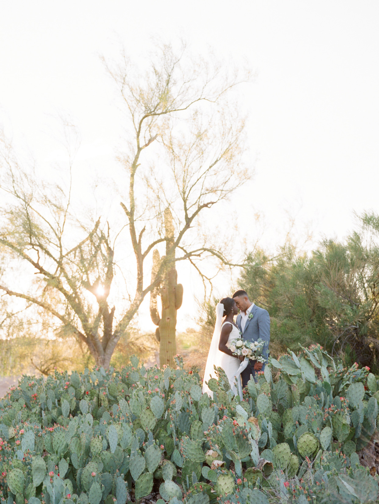 bride and groom posing with cacti