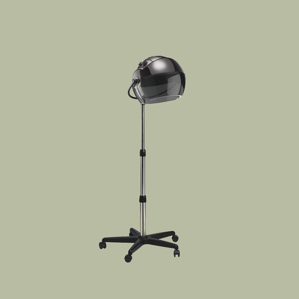 bonnet stand hair dryer in front of green background