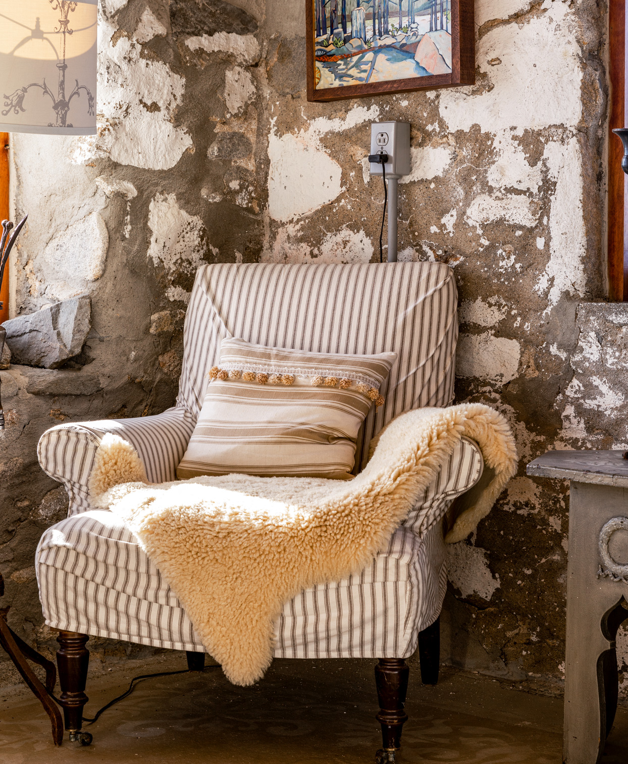 rustic main house striped slipcover armchair