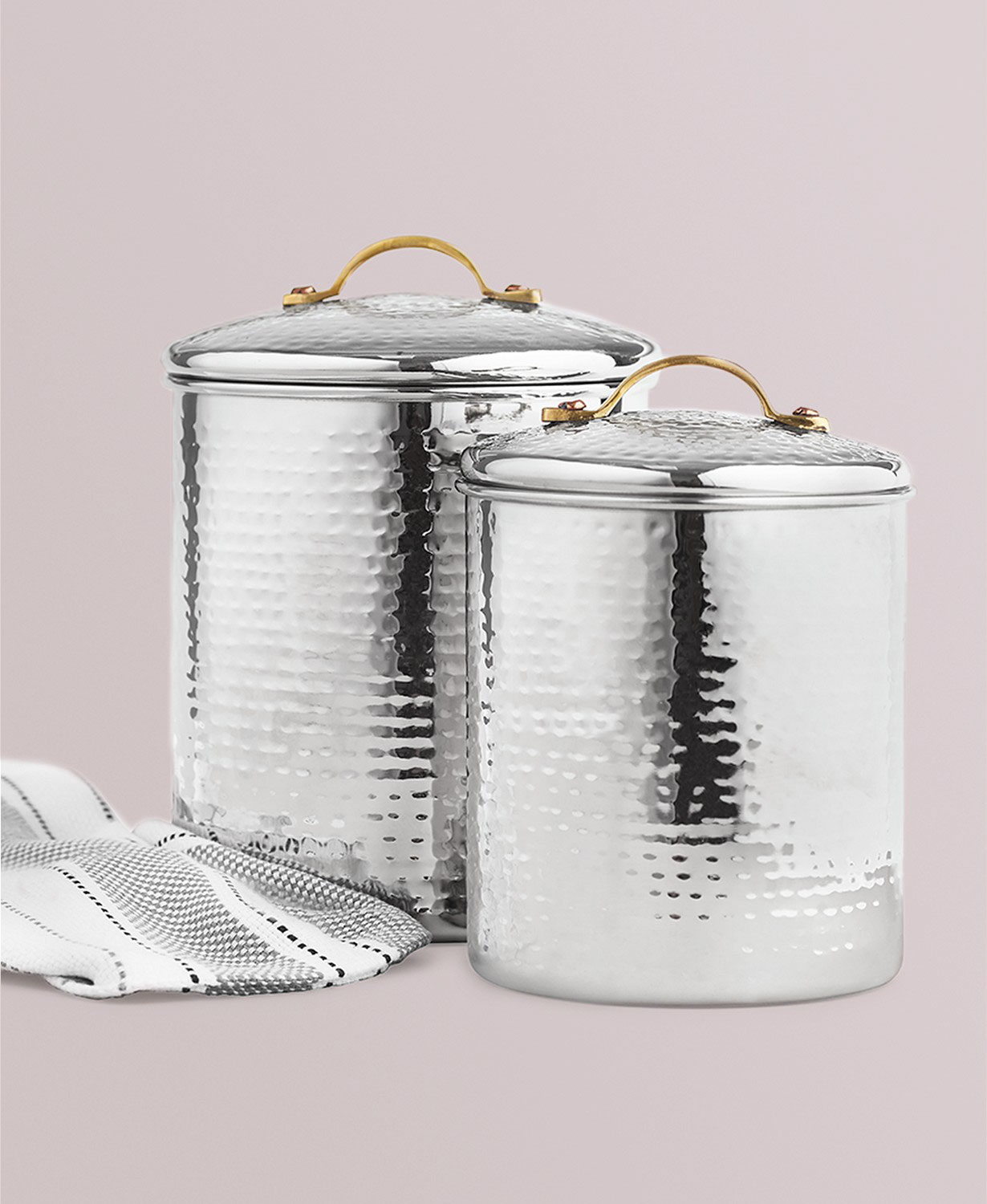 Martha Stewart Collection Hammered Stainless Steel Canisters