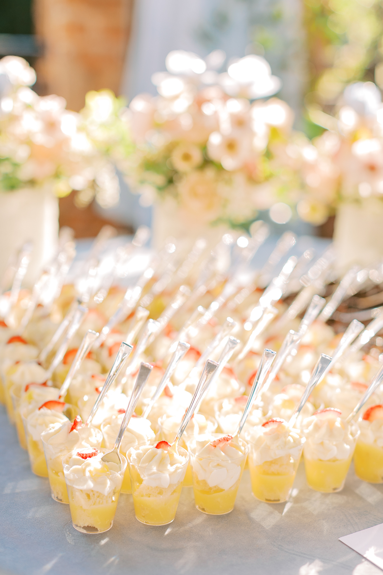 small dessert filled wedding food cups