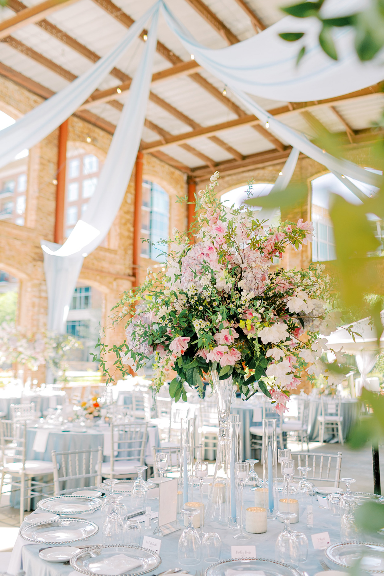 large pink floral table centerpiece