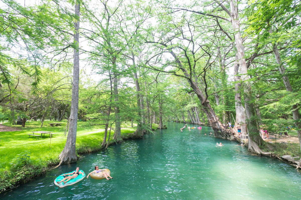 swimming in blue hole regional park texas