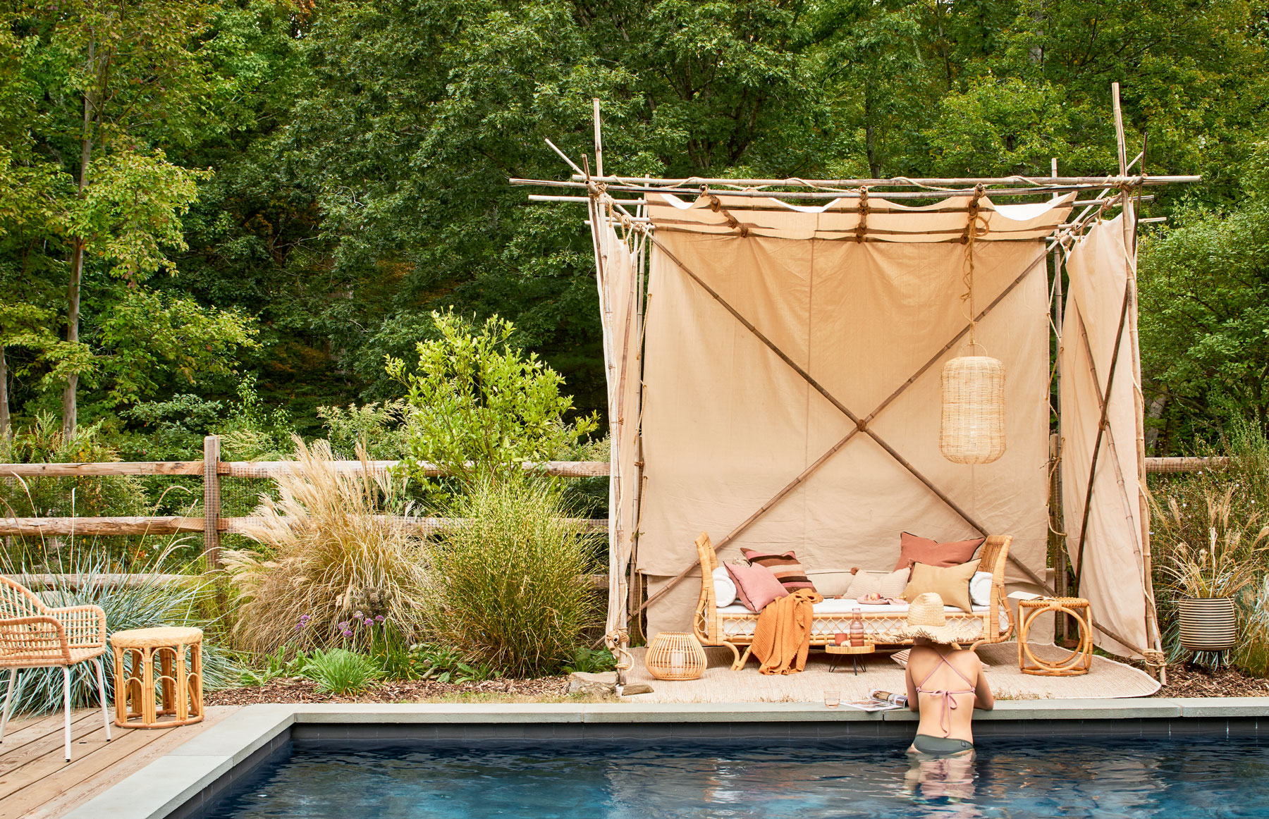 bamboo pop-up pool cabana with daybed