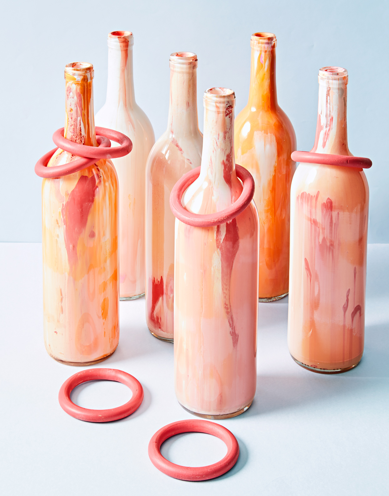 colorful marbled bottle ring toss game