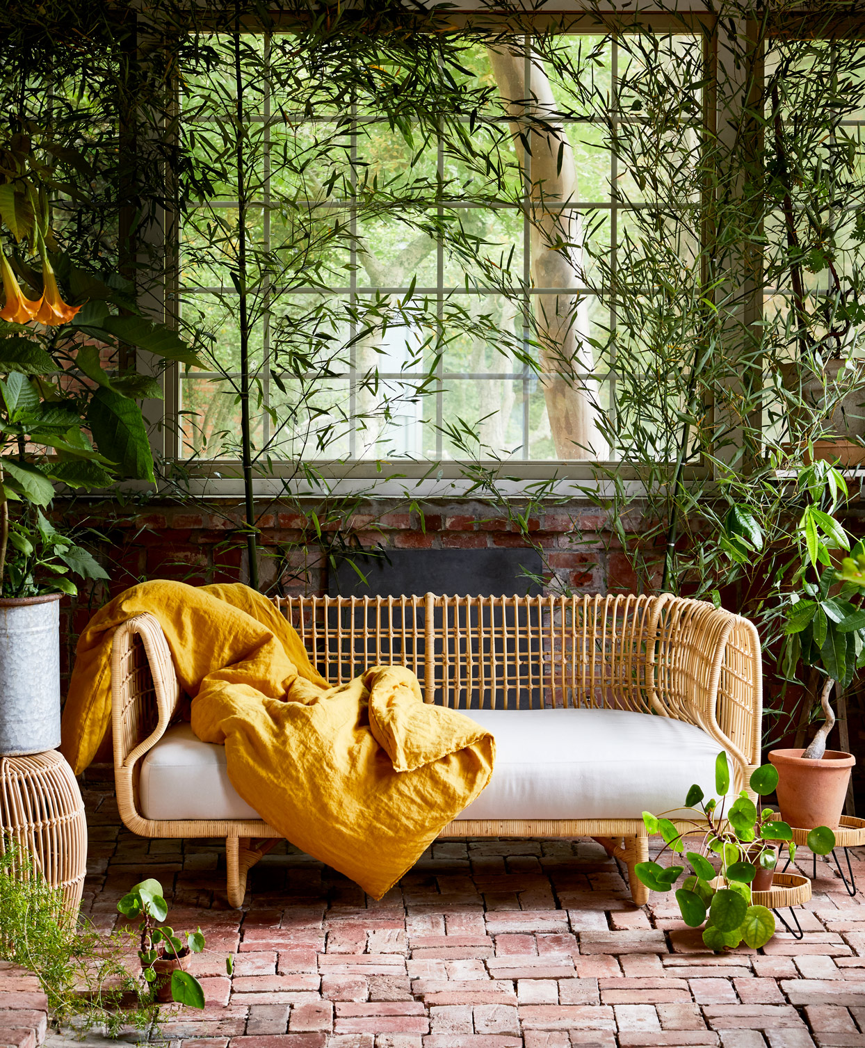 rattan daybed on plant-filled patio