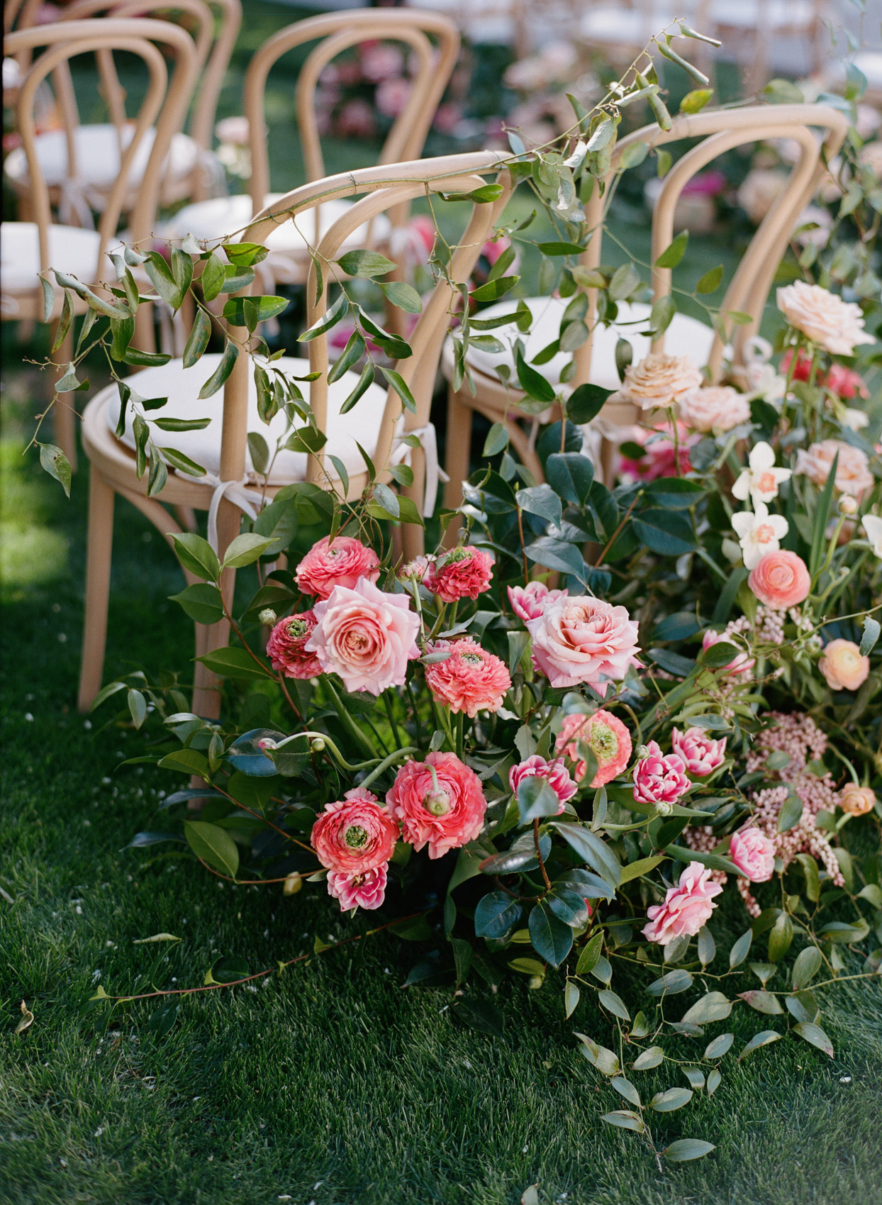 ceremony chairs with flowers in the grass