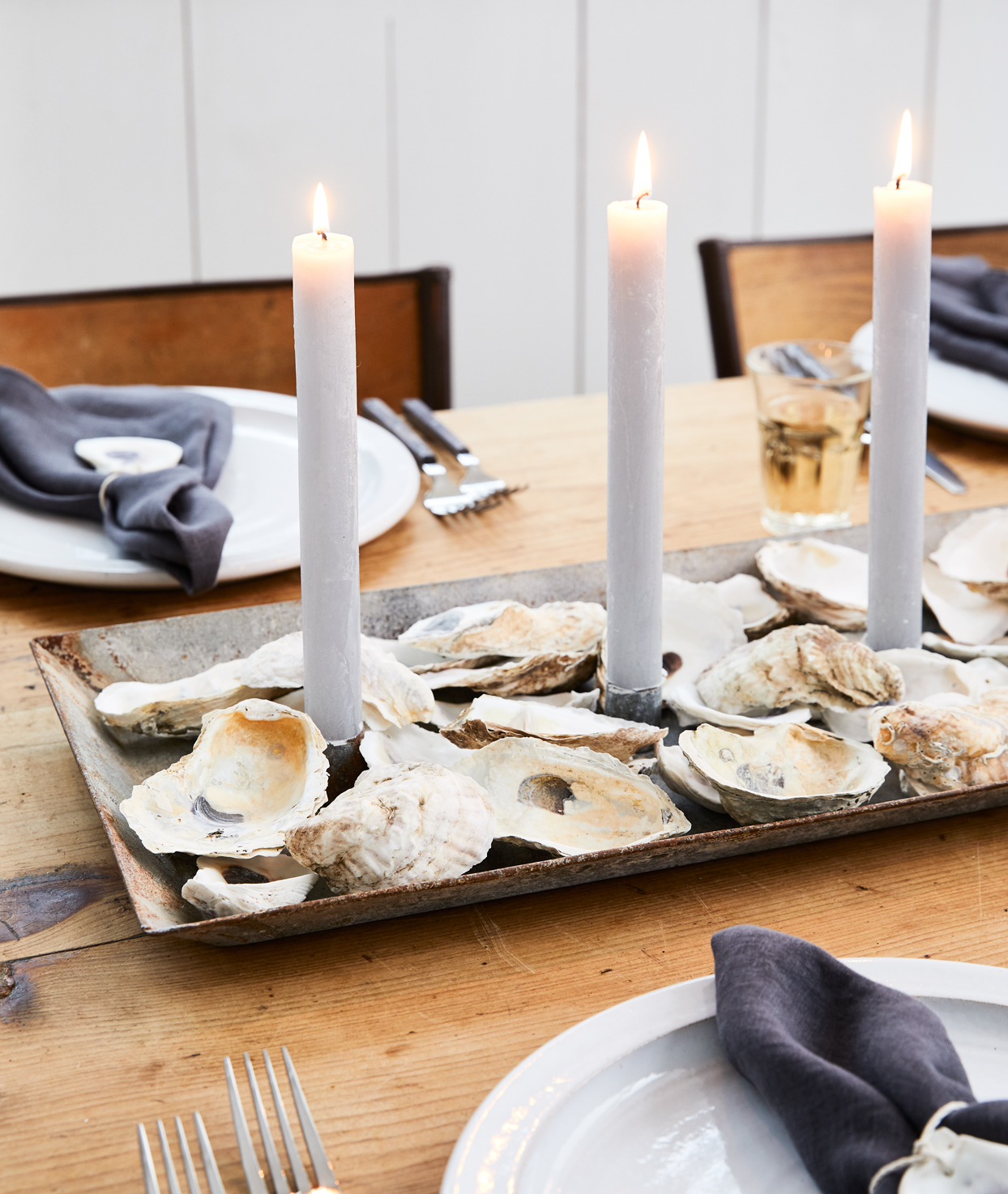 seashell table centerpiece candles