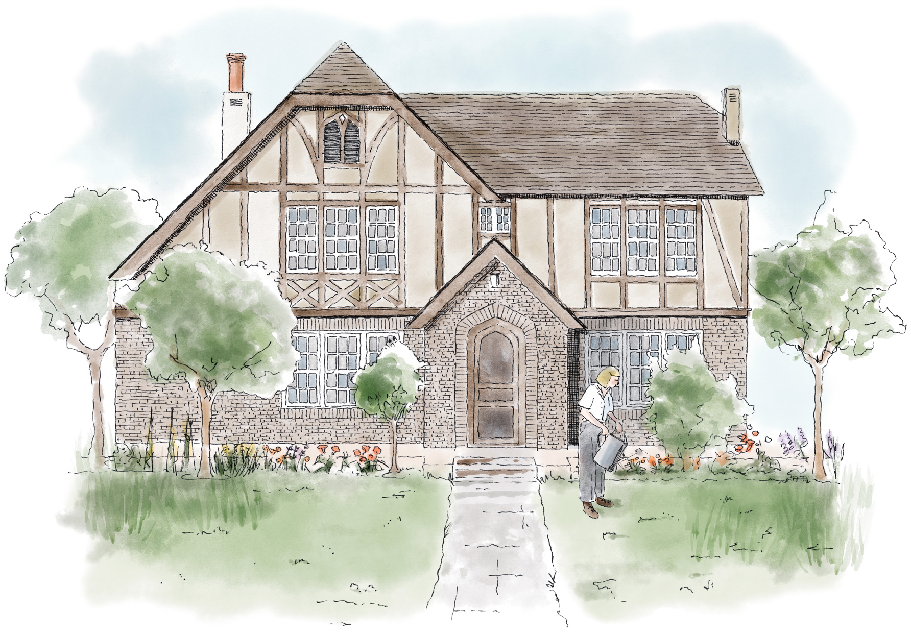 Willa Cather home illustration