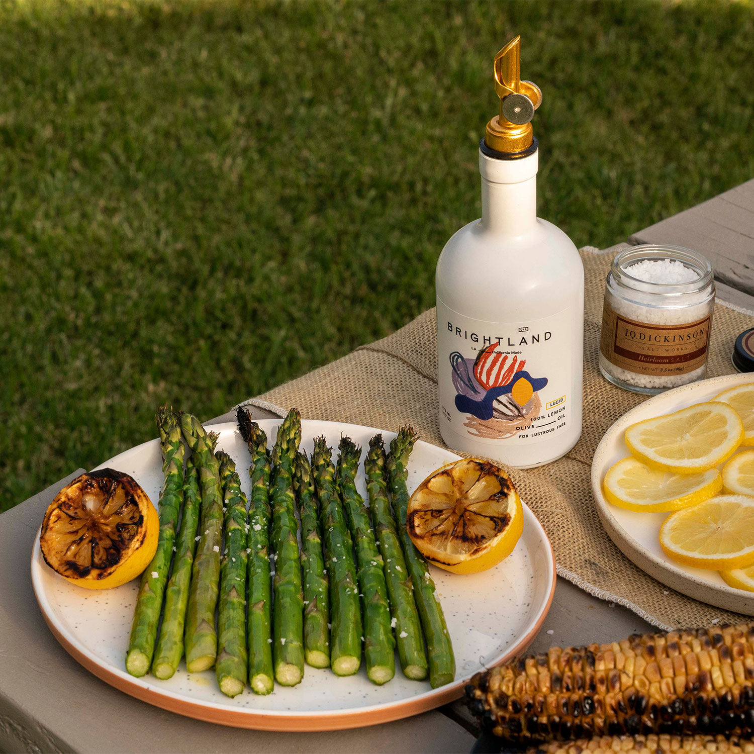 grilled vegetables with Brightland products