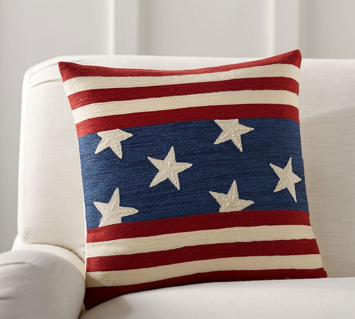 Pottery Barn Flag Embroidered Pillow Cover
