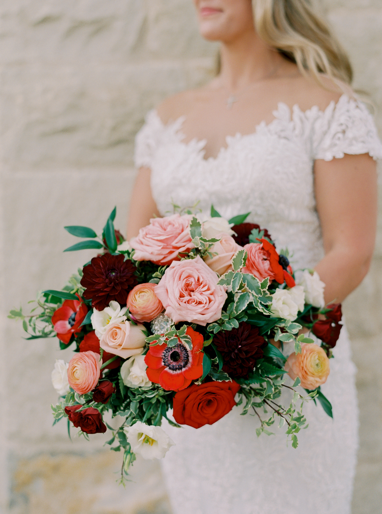 wedding bouquet of red and white flowers