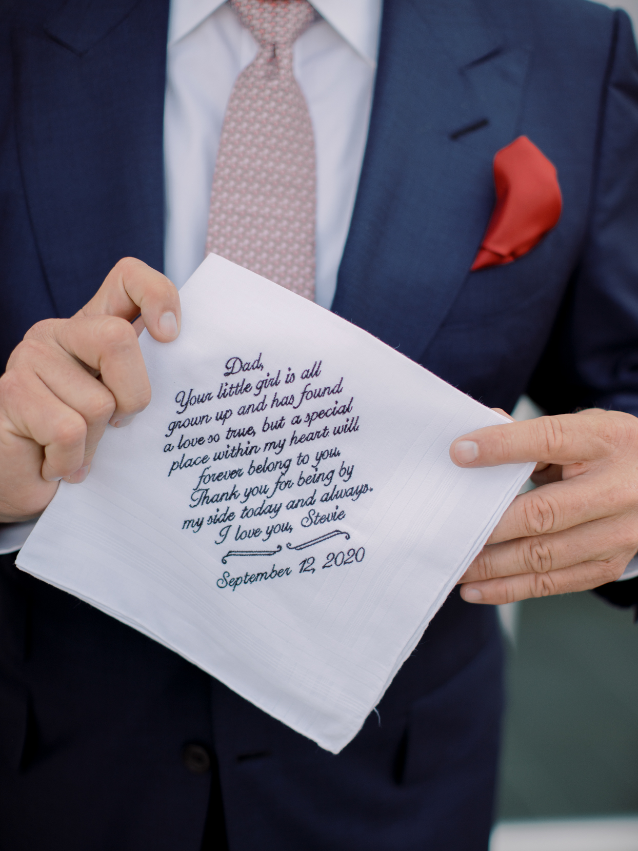 handkerchief with message for bride
