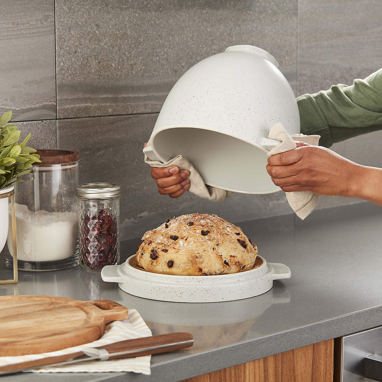 kitchenaid bread bowl with baking lid on counter