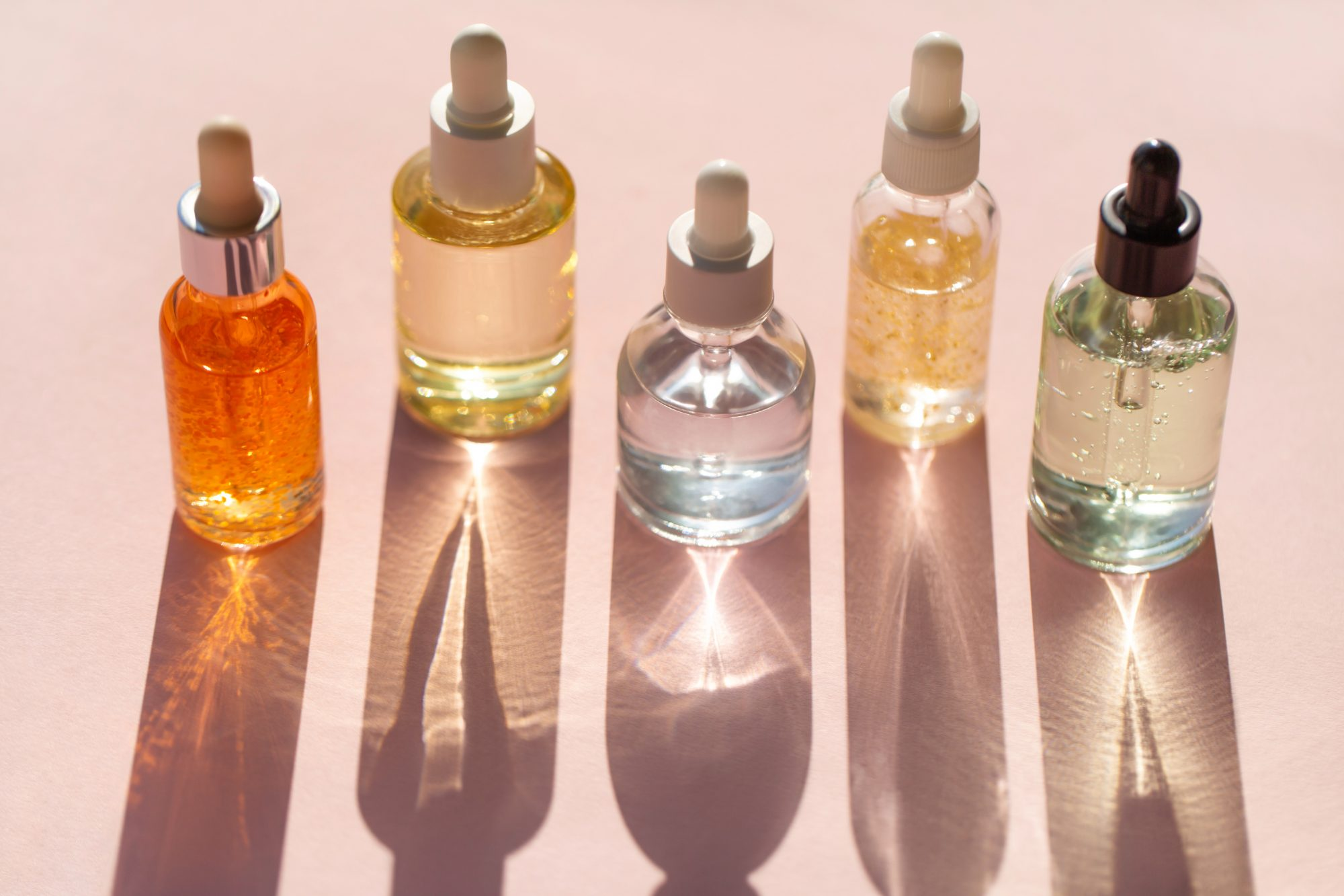 row of clear beauty products