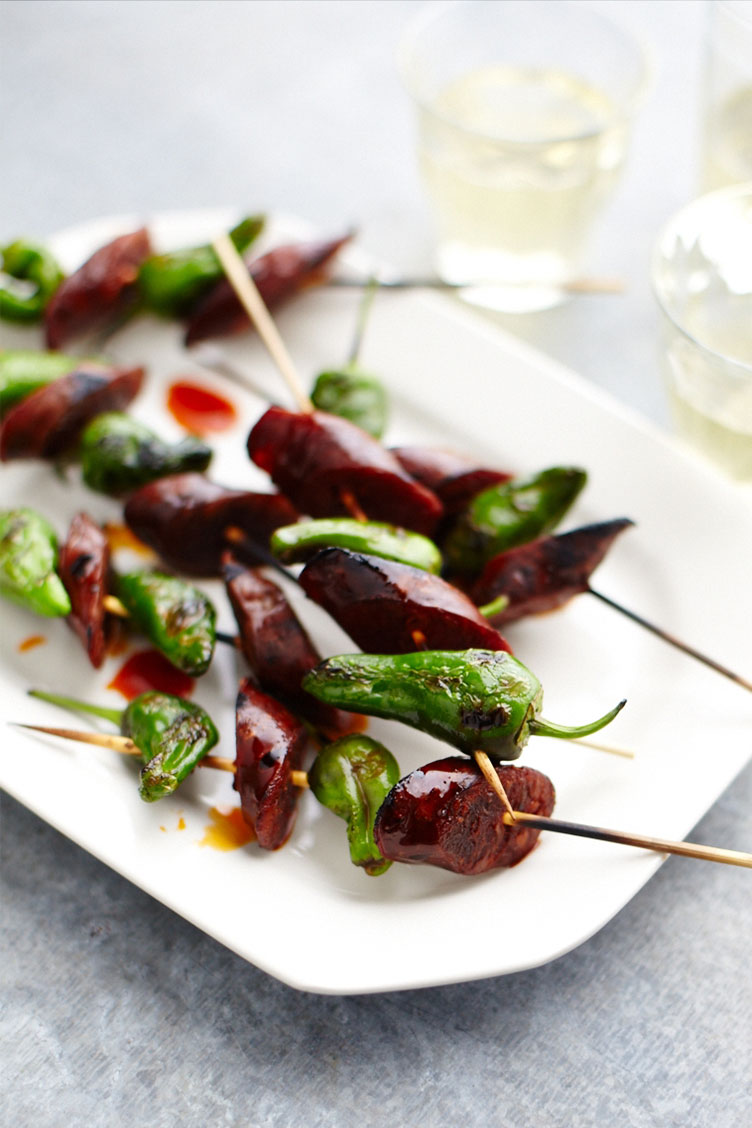 Padron Peppers Skewered With Chorizo