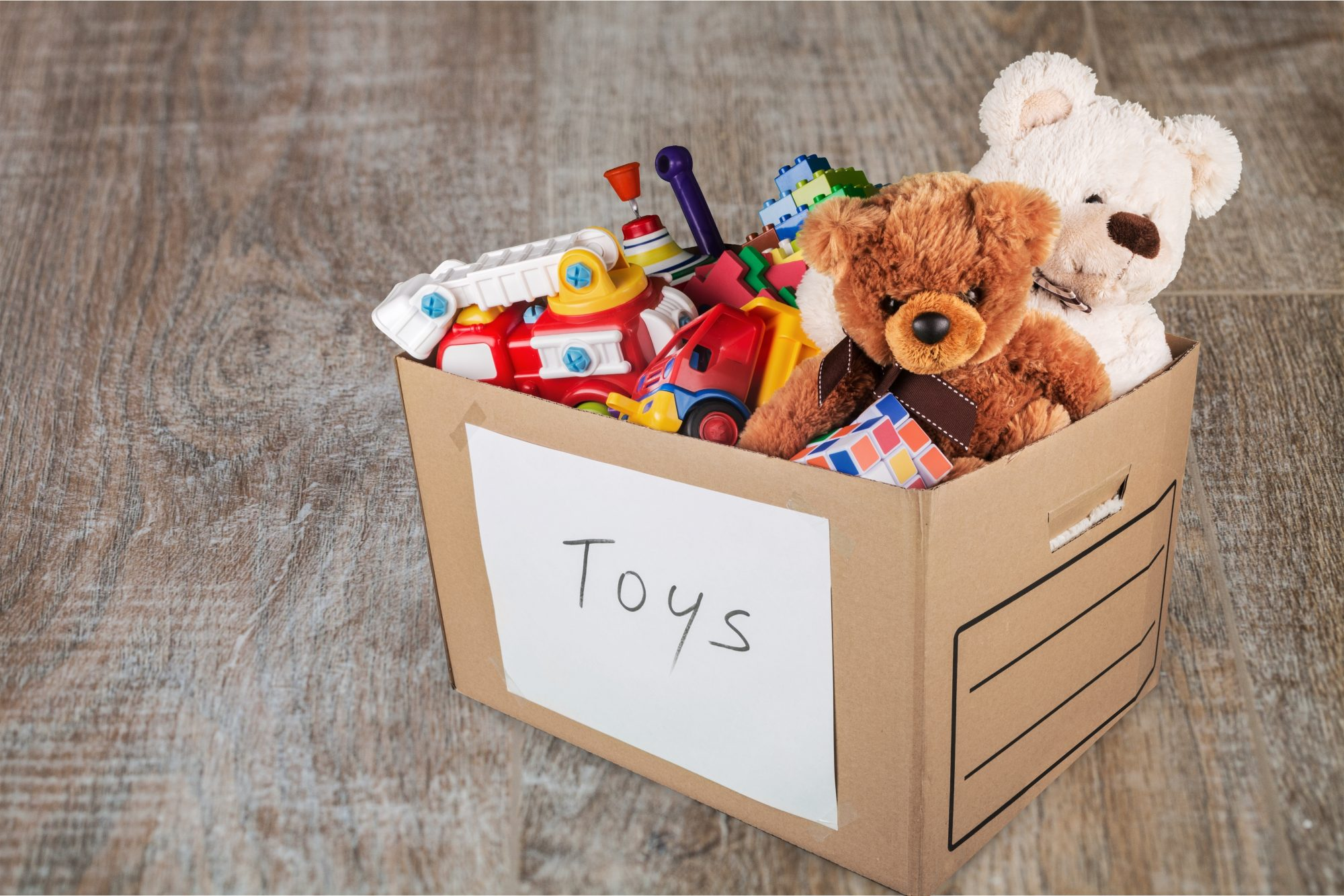 toys and stuffed animals in donation box
