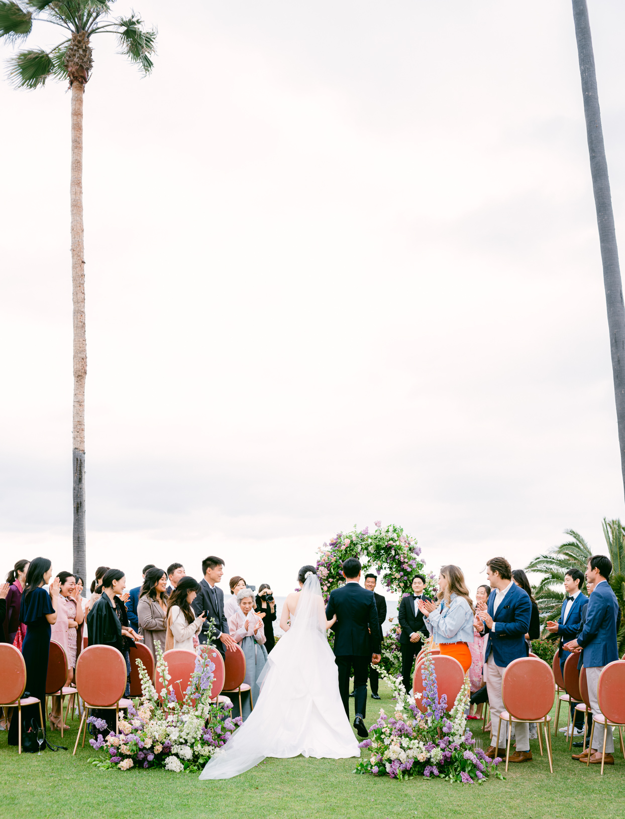 wedding ceremony processional guests standing
