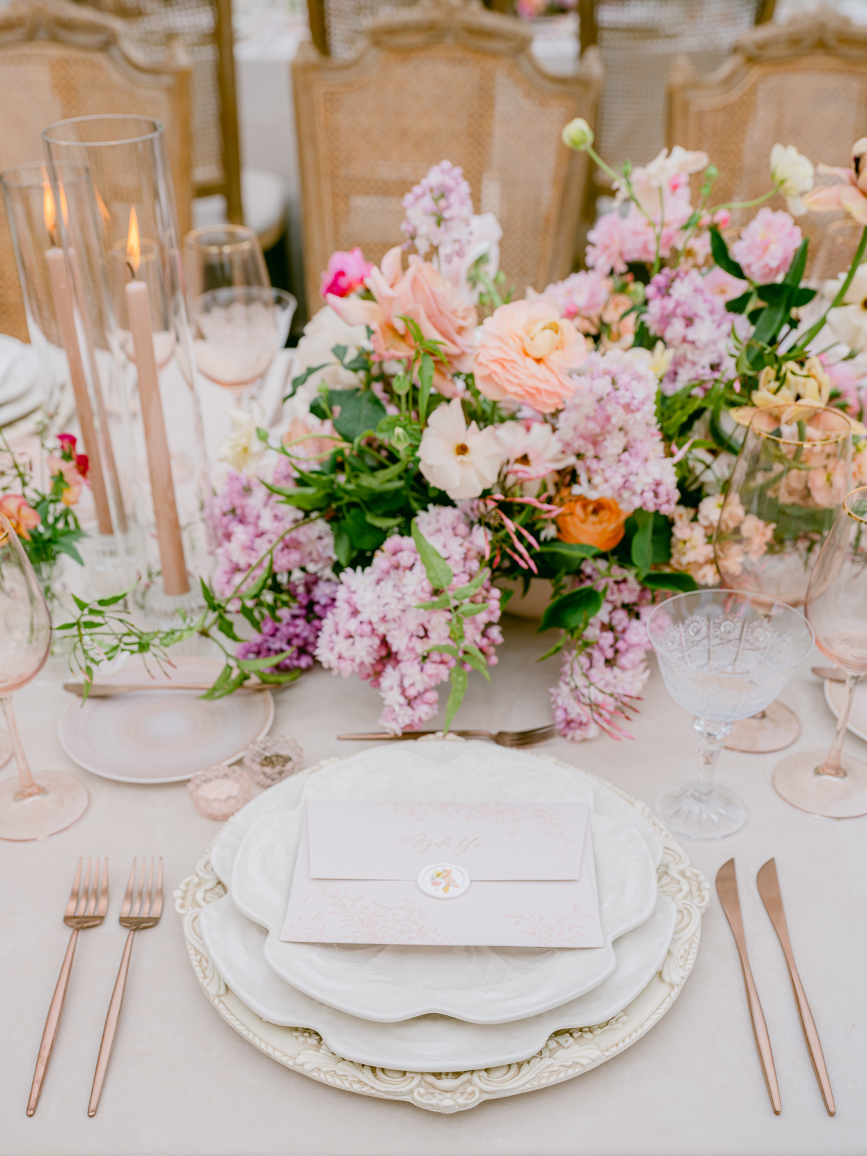 rose gold wedding reception place setting details