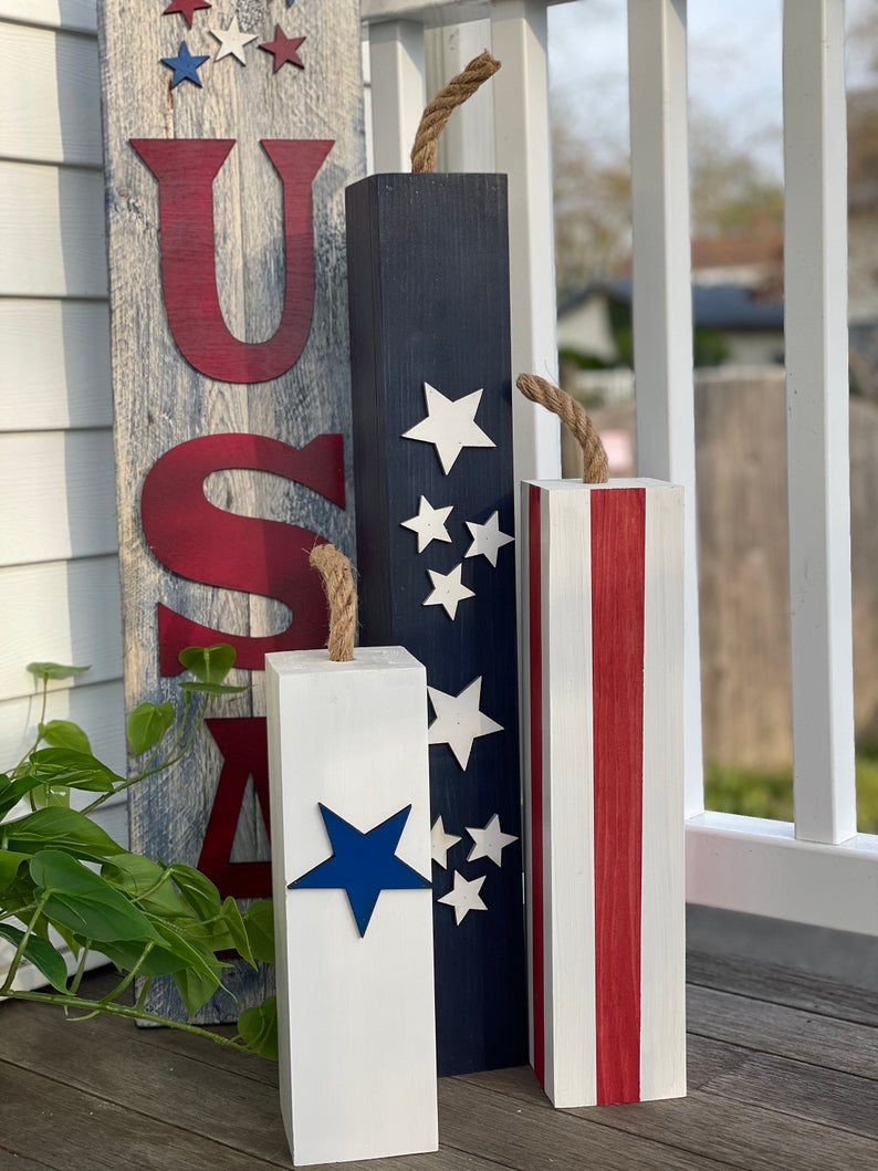 fourth of july porch decor wooden firecrackers