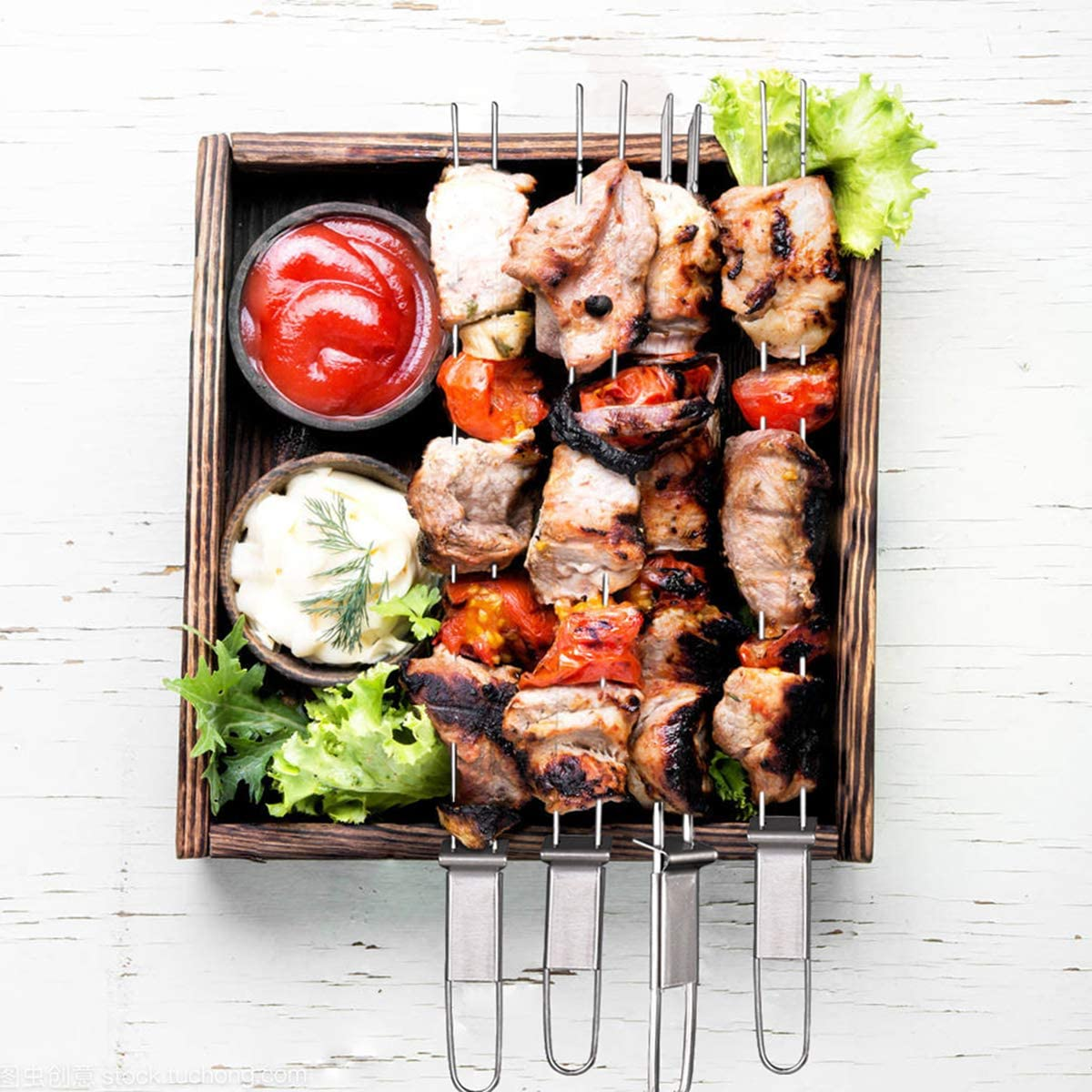 Lucalda Long Double Pronged BBQ Skewers with Push Bar