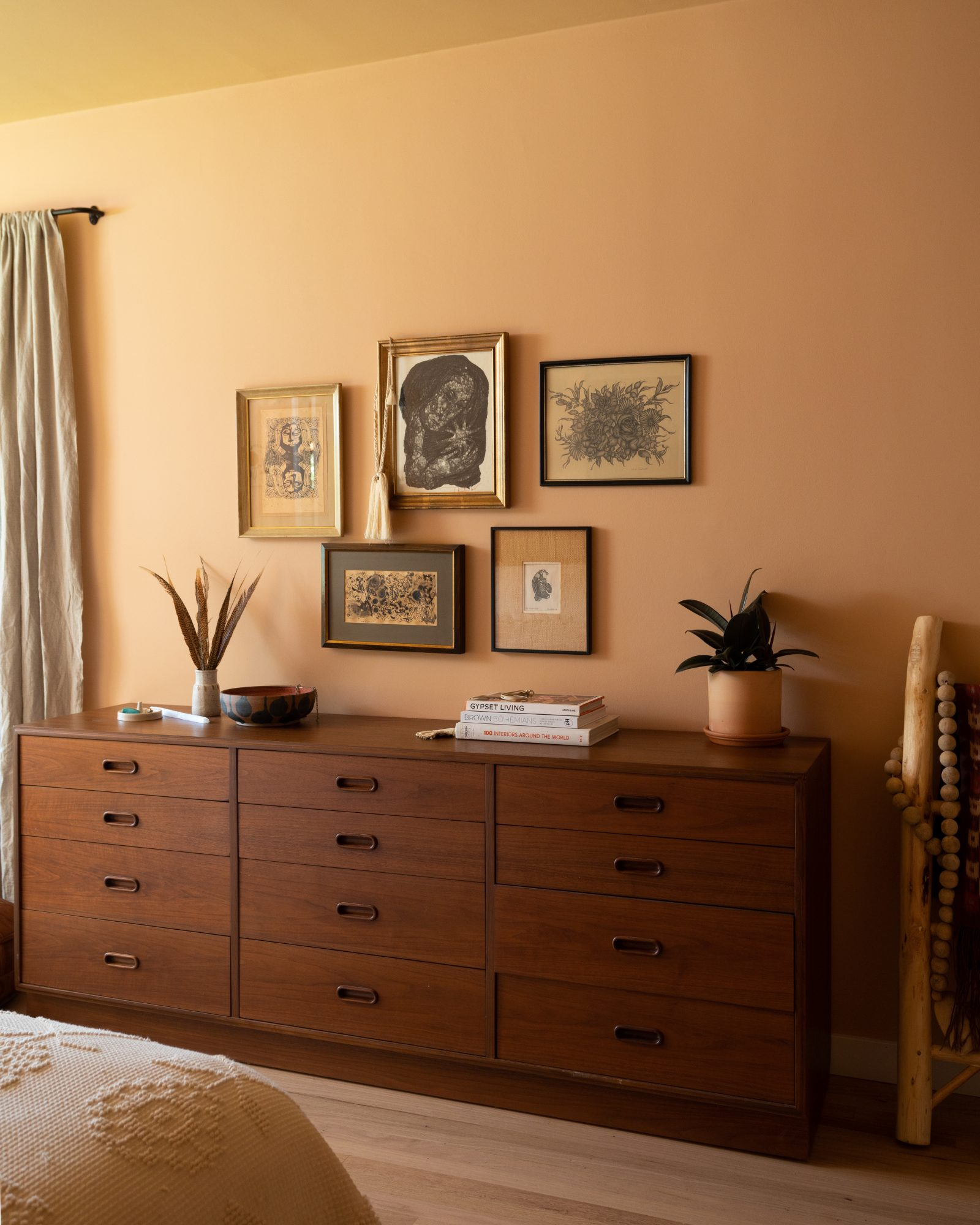terra cotta colored color painted bedroom