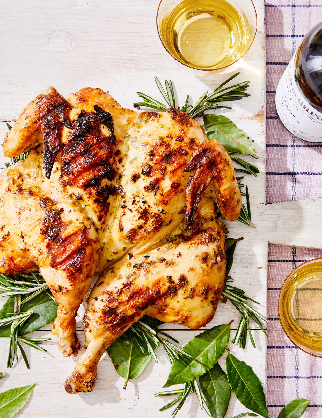 grilled spatchcock chicken with dijon and rosemary