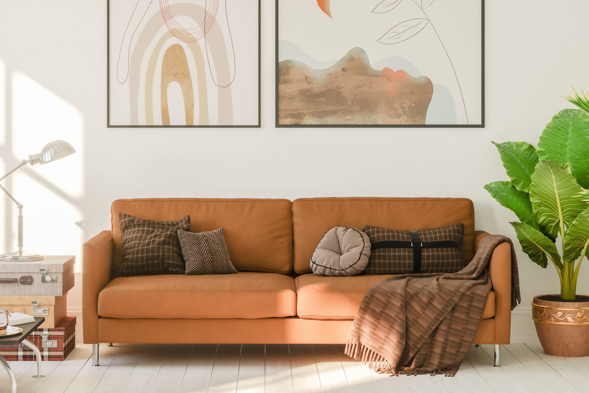 boho style living room with brown couch