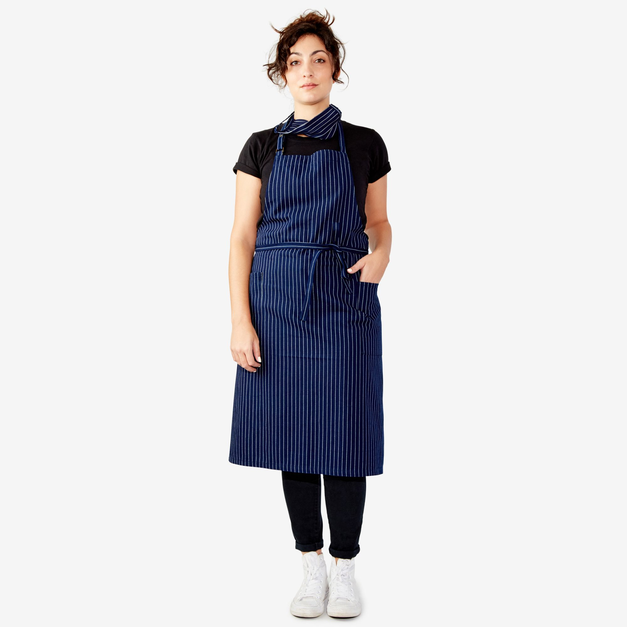 navy rendall co apron