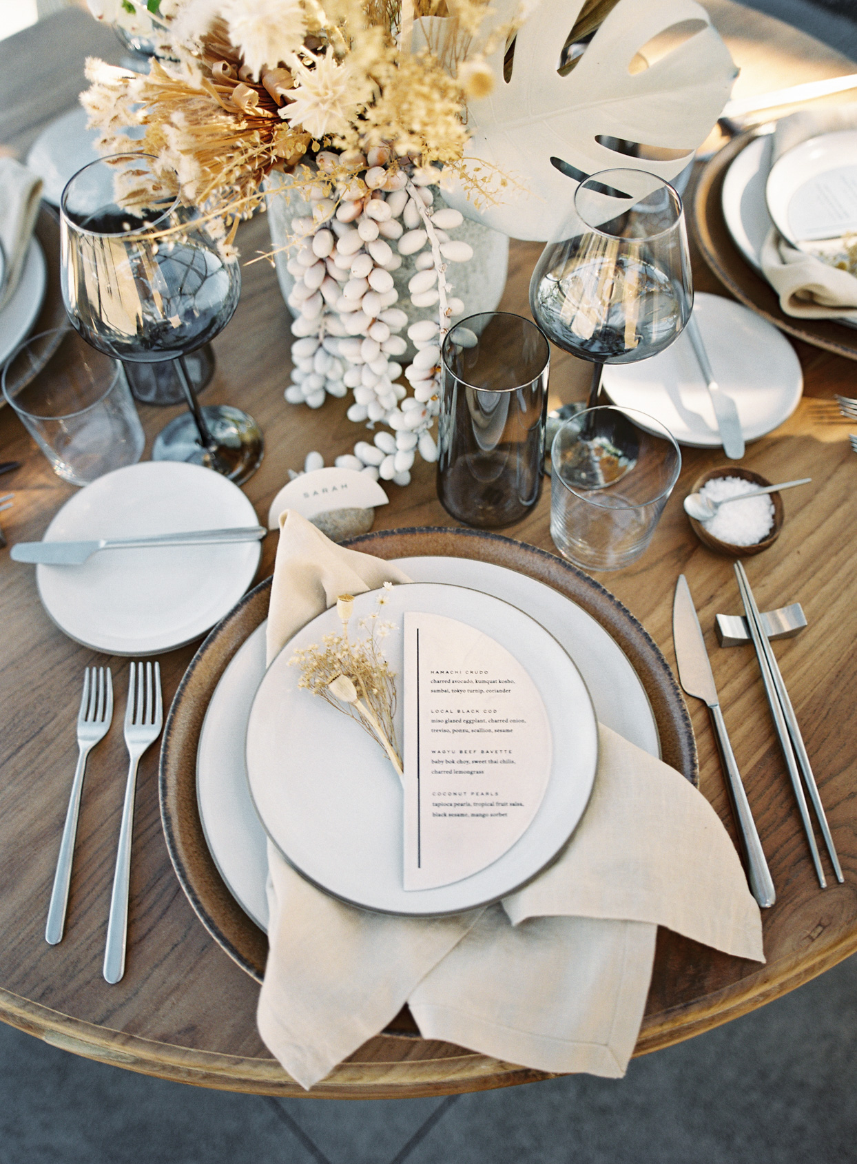 natural modern neutral tones vow renewal place setting
