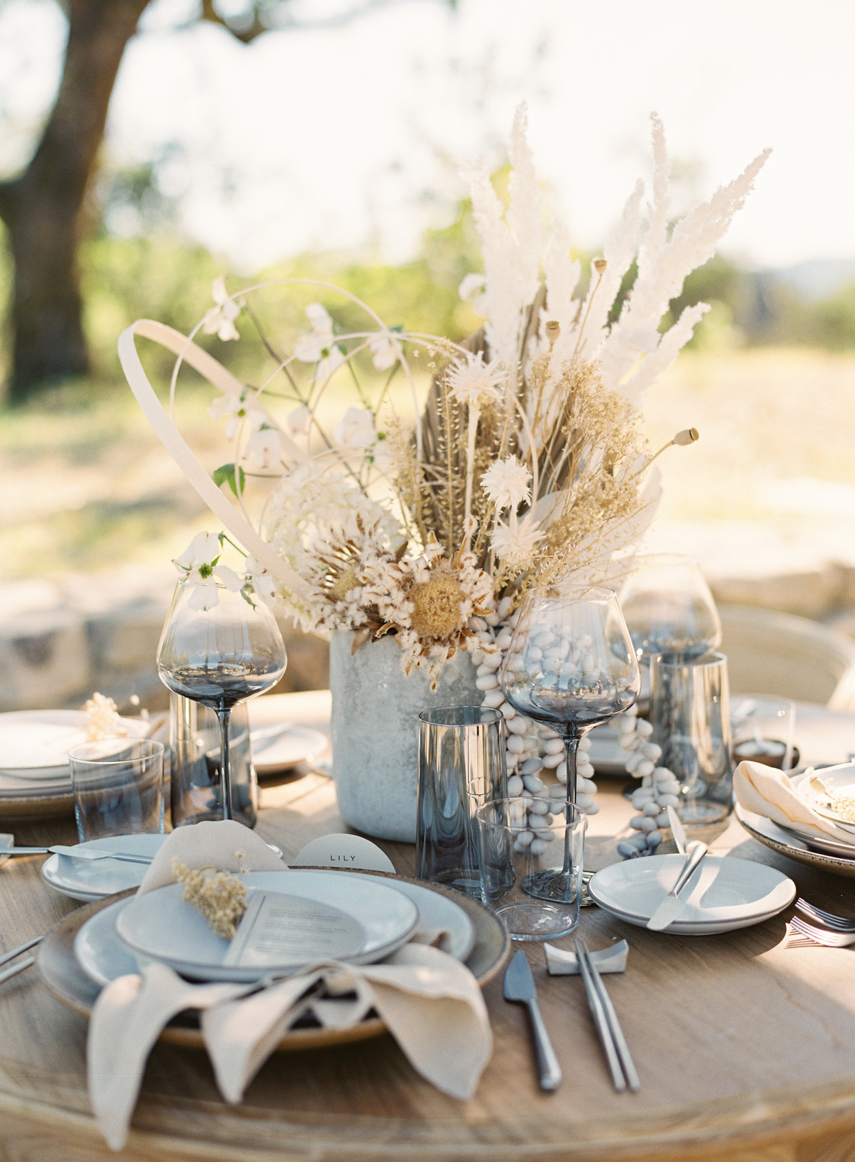 elegant modern gray, brown, and white place setting