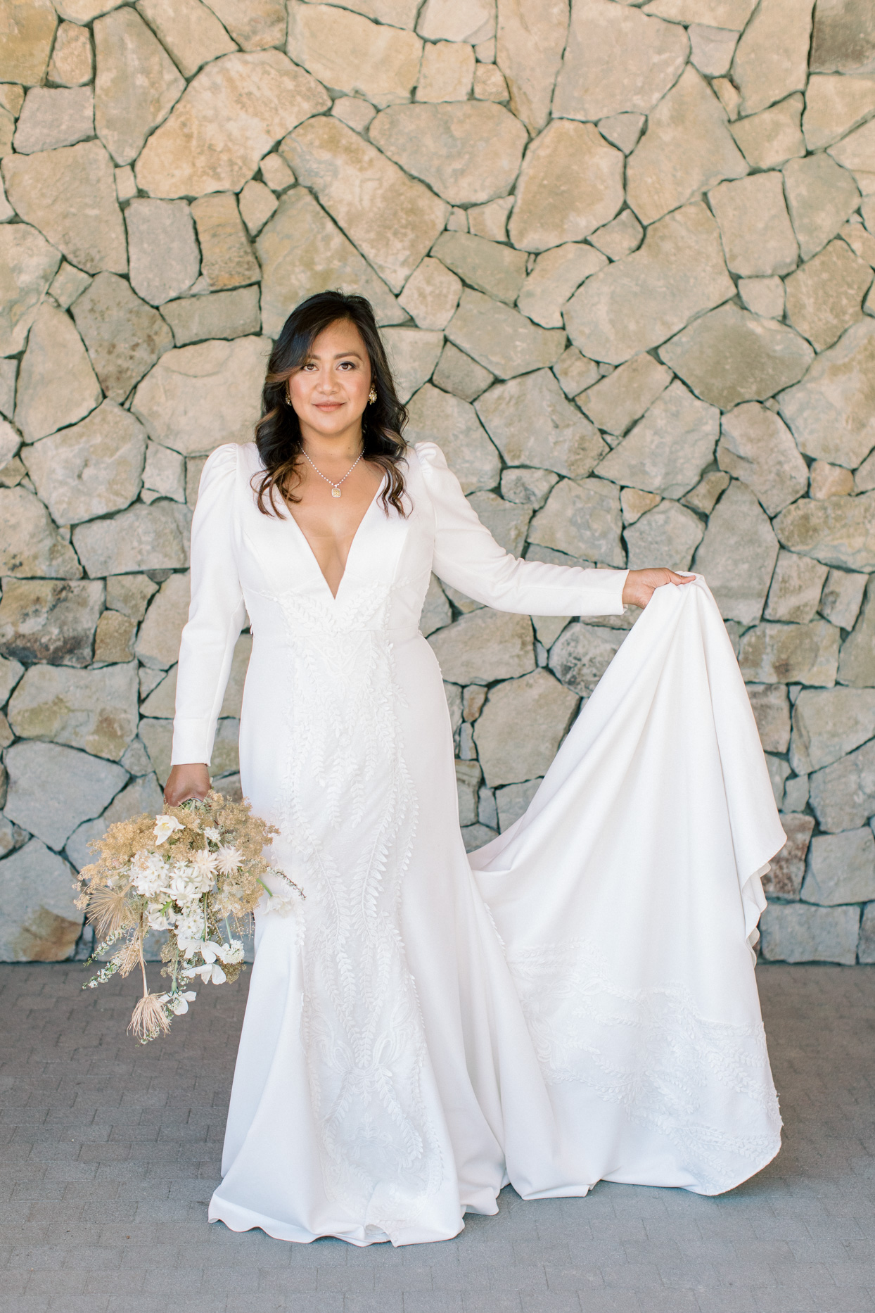 bride in white wedding dress for vow renewal