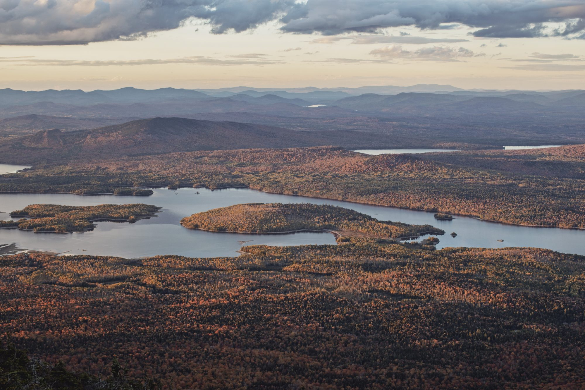 Fall foliage and Flagstaff Lake, Maine seen from Bigelow Maine