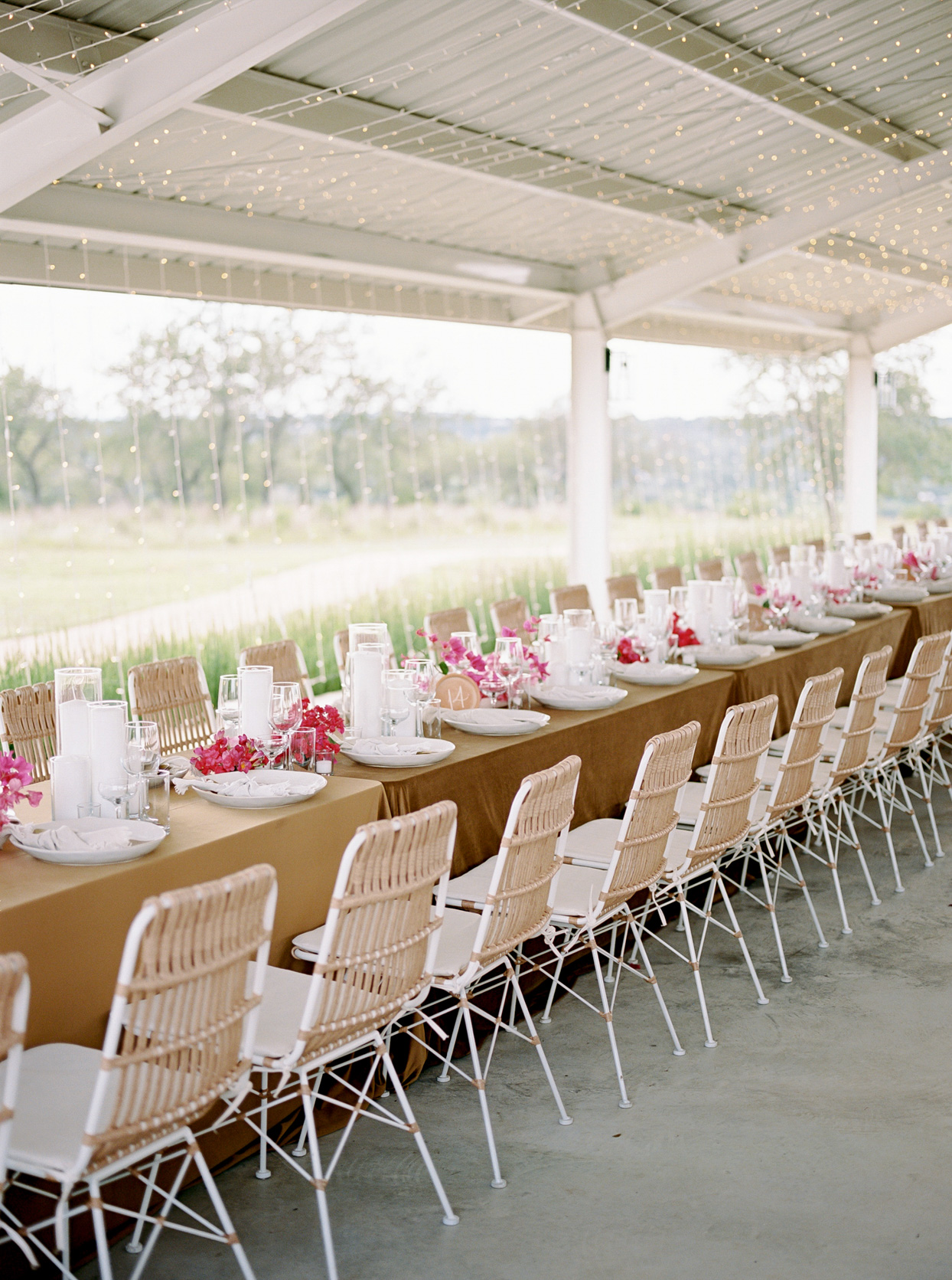 reception tables with candles and flowers