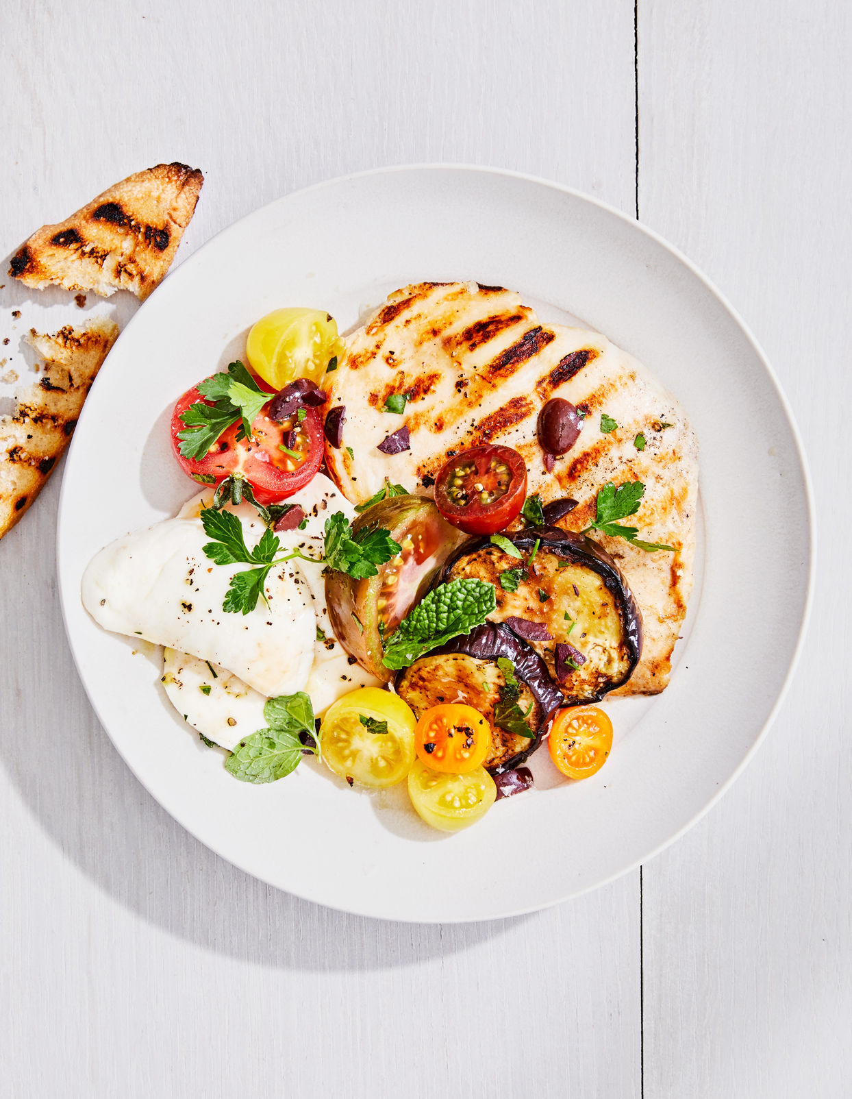 """Grilled Chicken-and-Eggplant """"Caprese"""""""