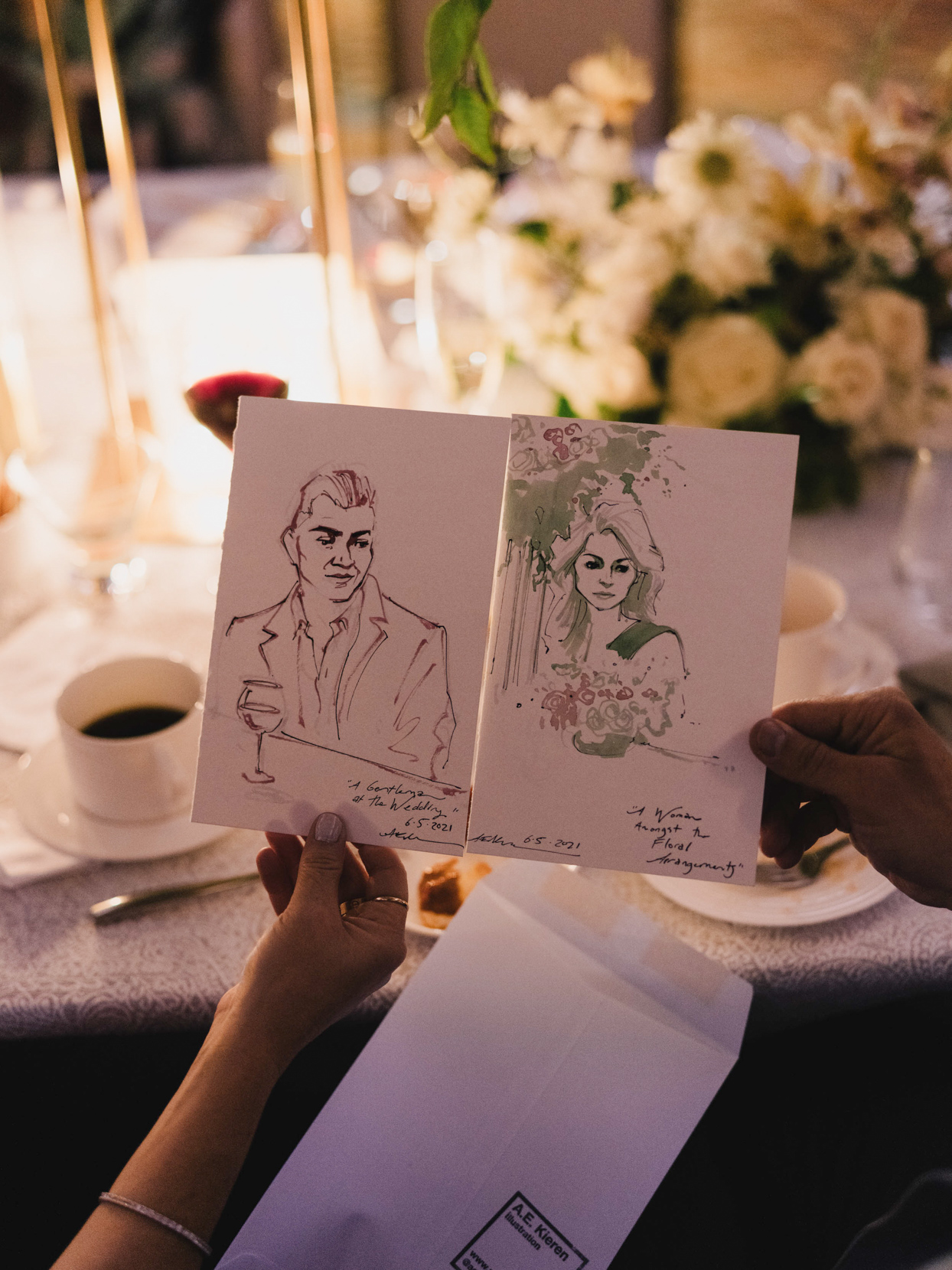 painted portraits done by artist at wedding
