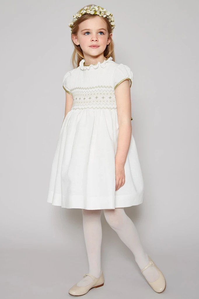 Pepa & Co. White Occasion Dress with Green Details