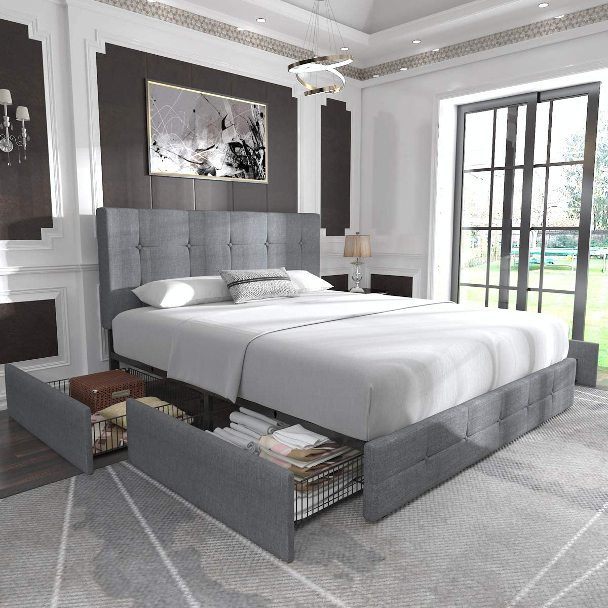 Allewie Queen Platform Bed Frame with Four Drawers