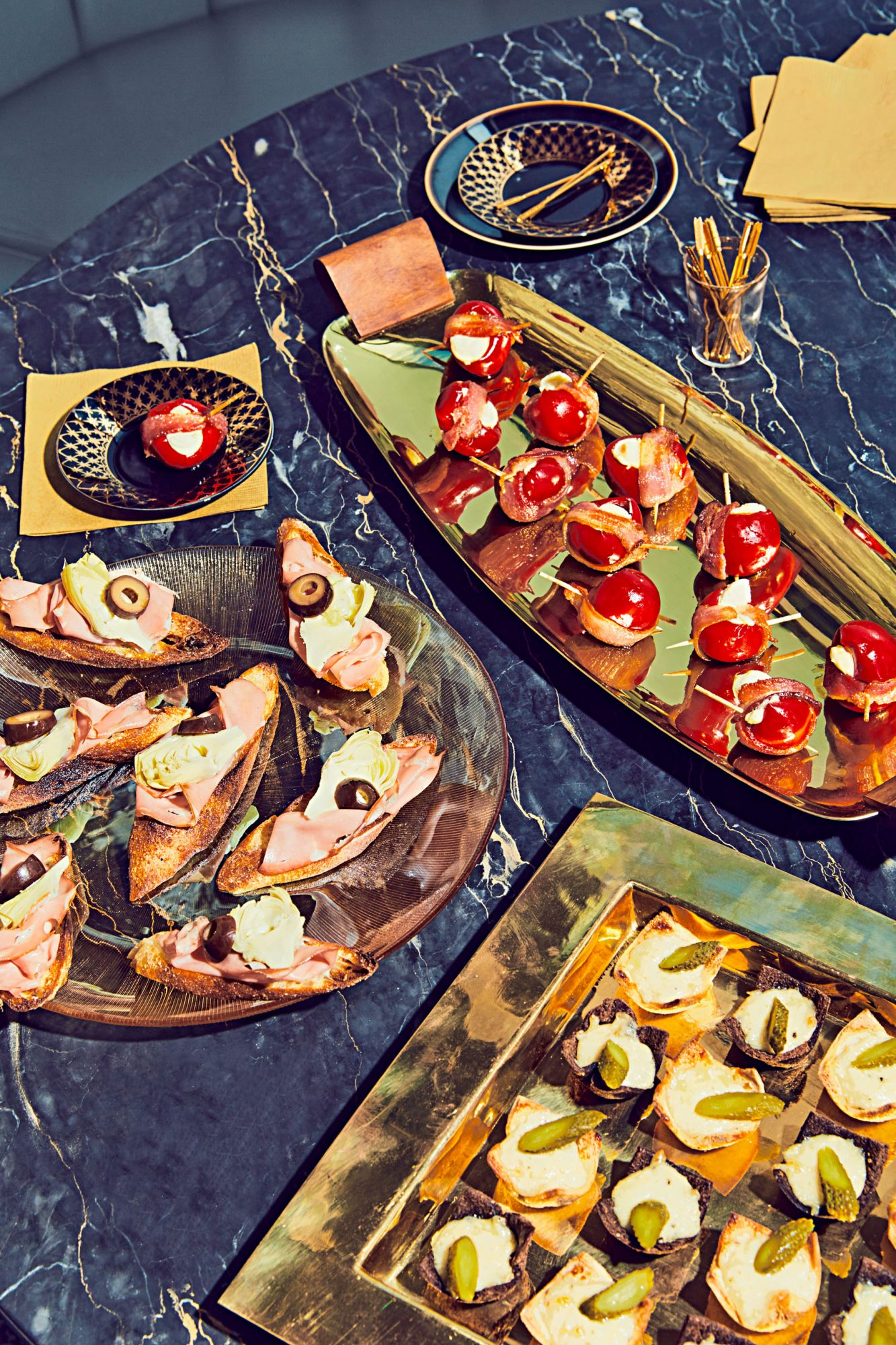 party appetizers black marble surface