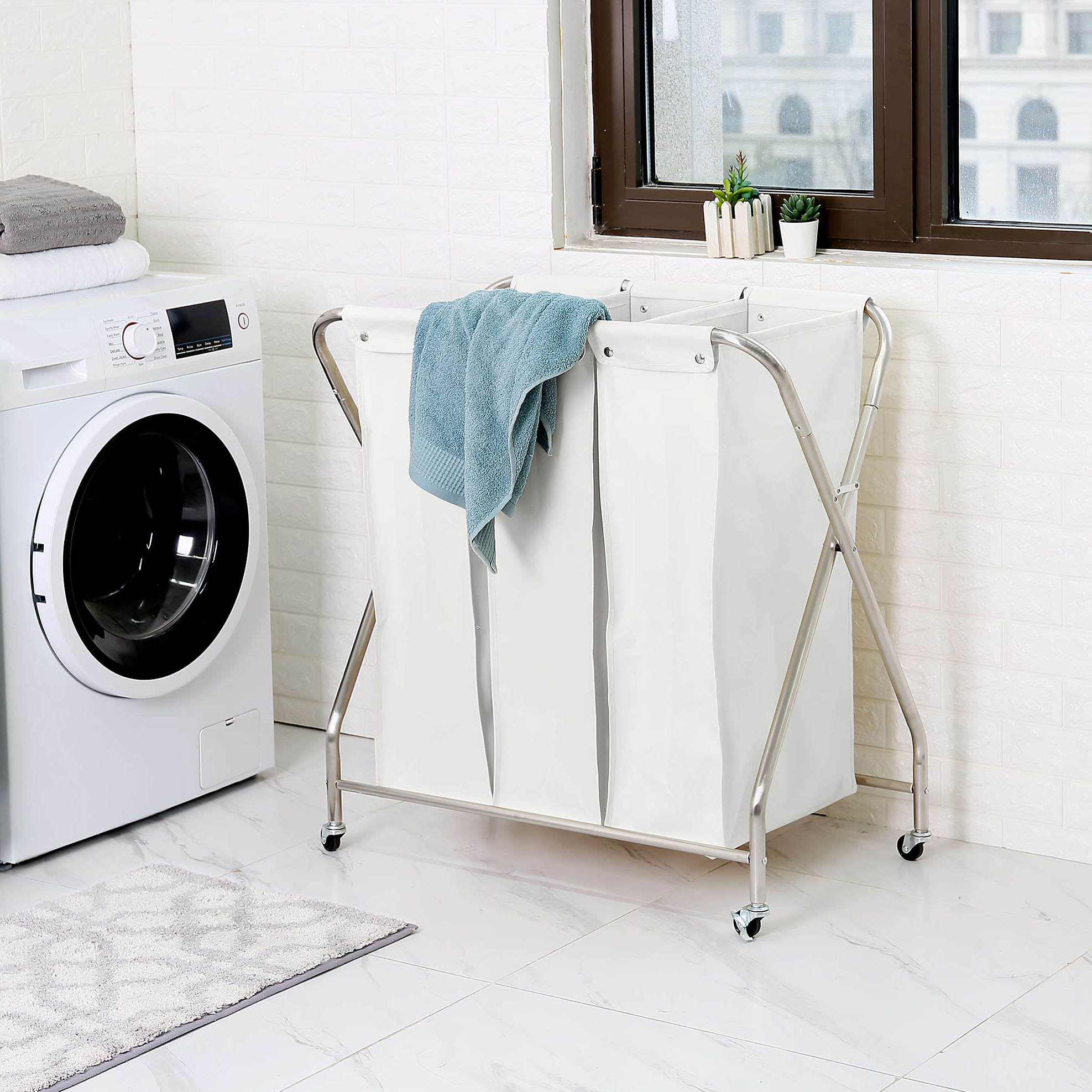Squared Away Three-Compartment Rolling Laundry Sorter with Three Removable Bags